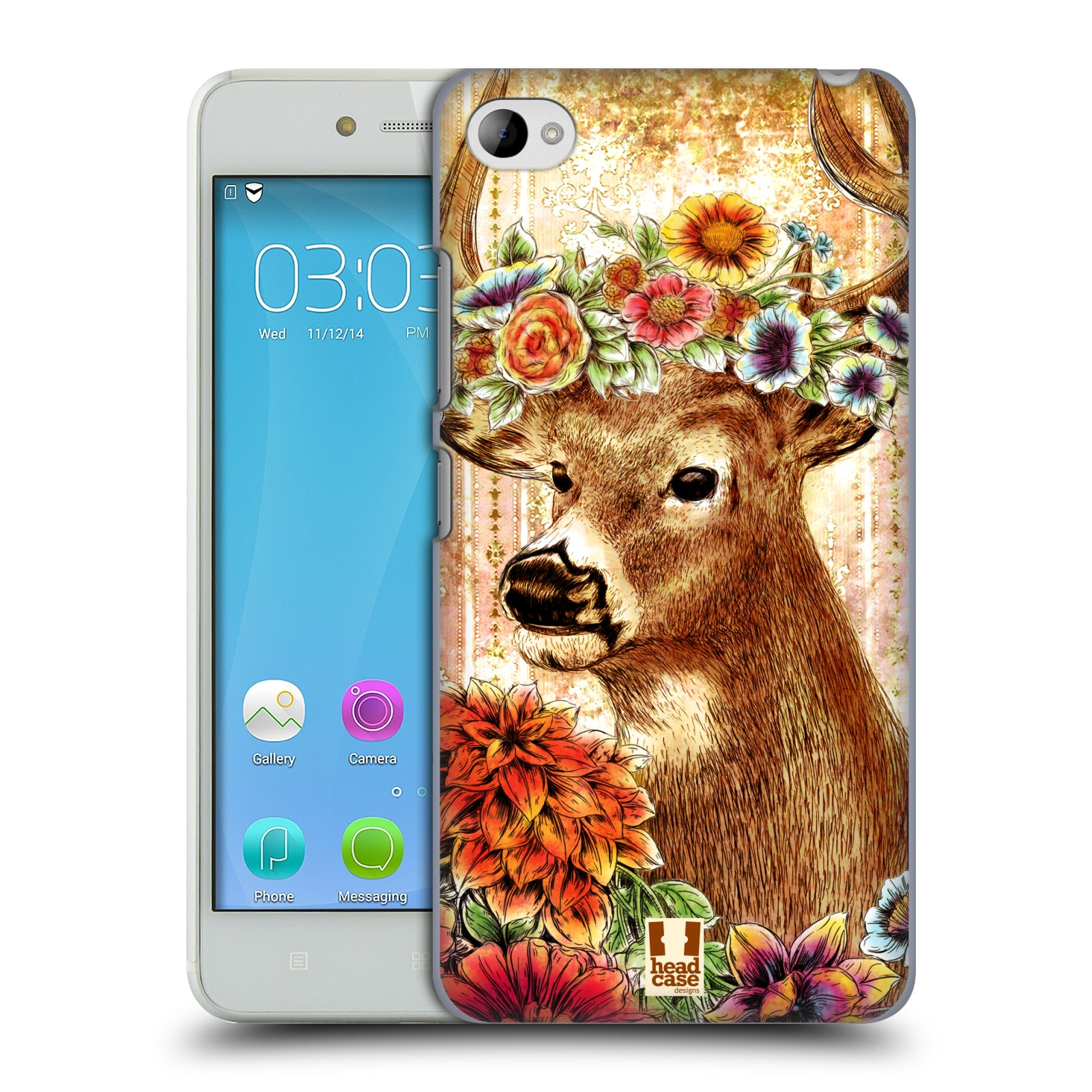 HEAD CASE pevný plastový obal na mobil LENOVO S90 vzor Květinová zvířáta JELEN