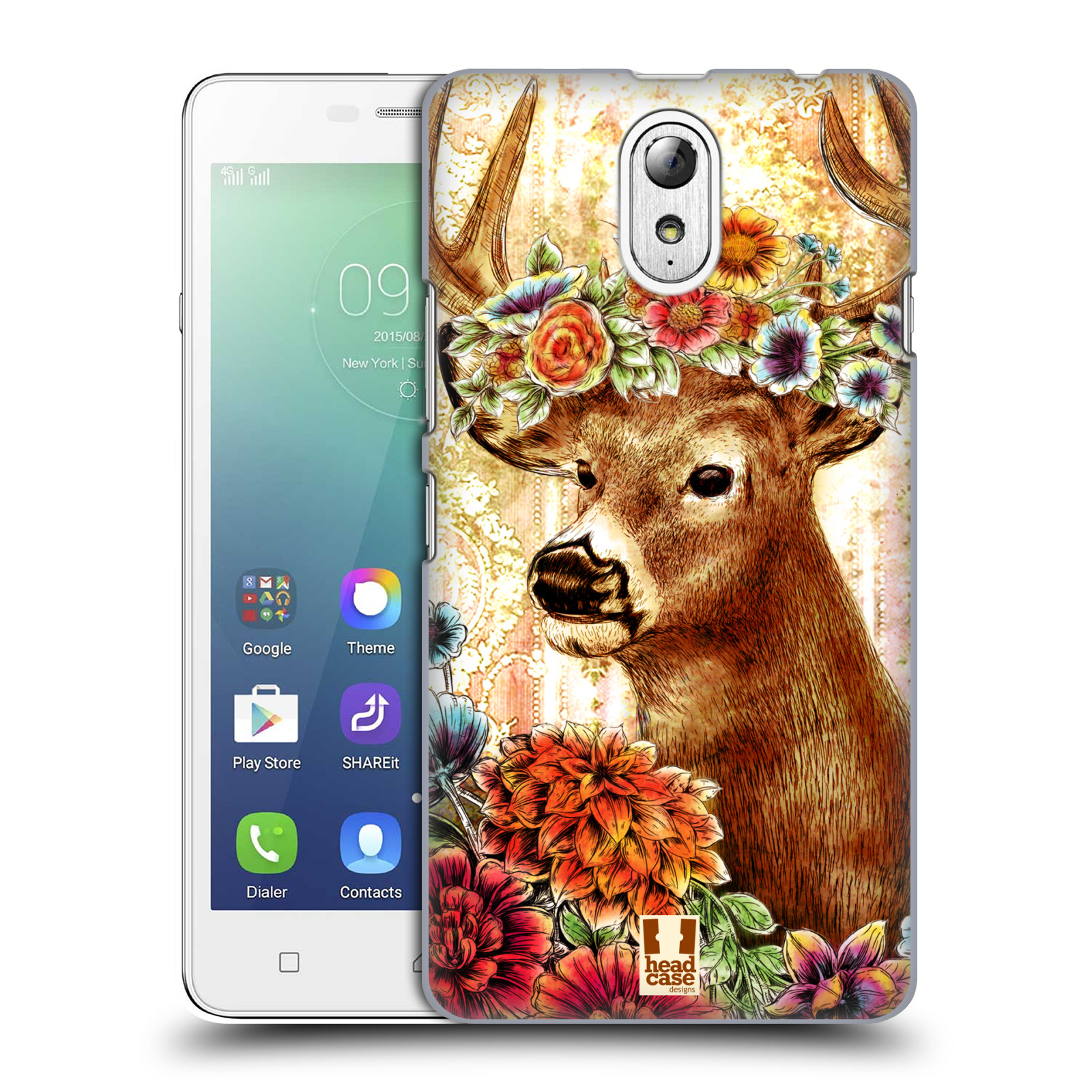 HEAD CASE pevný plastový obal na mobil LENOVO VIBE P1m   LENOVO VIBE p1m  DUAL SIM vzor Květinová zvířáta JELEN 6c092481f1d