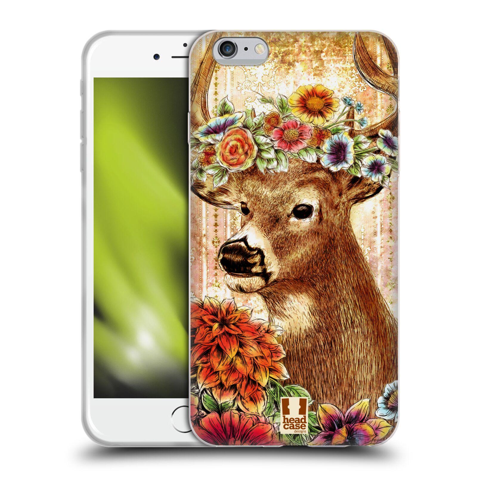 HEAD CASE silikonový obal na mobil Apple Iphone 6 PLUS/ 6S PLUS vzor Květinová zvířáta JELEN