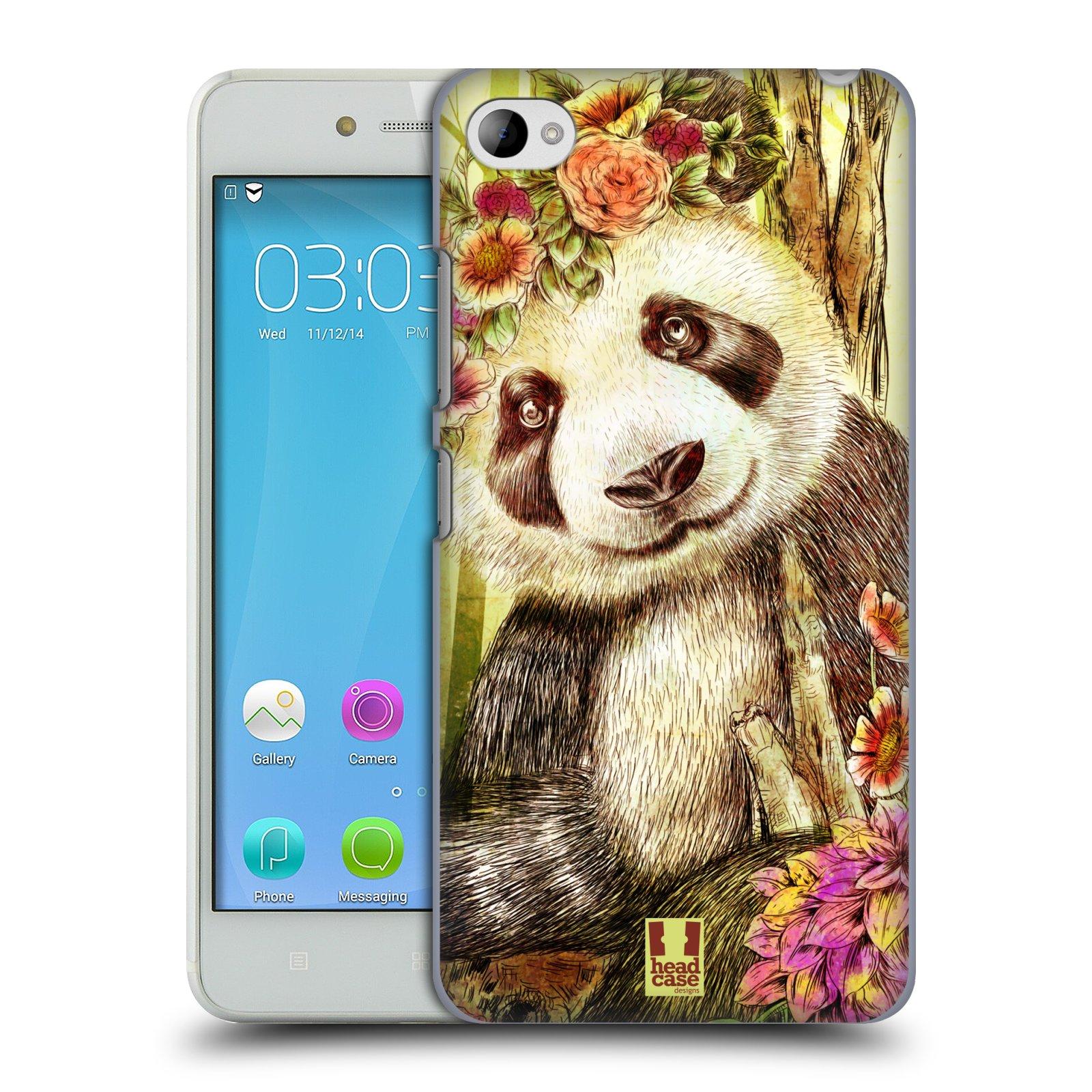 HEAD CASE pevný plastový obal na mobil LENOVO S90 vzor Květinová zvířáta MEDVÍDEK PANDA