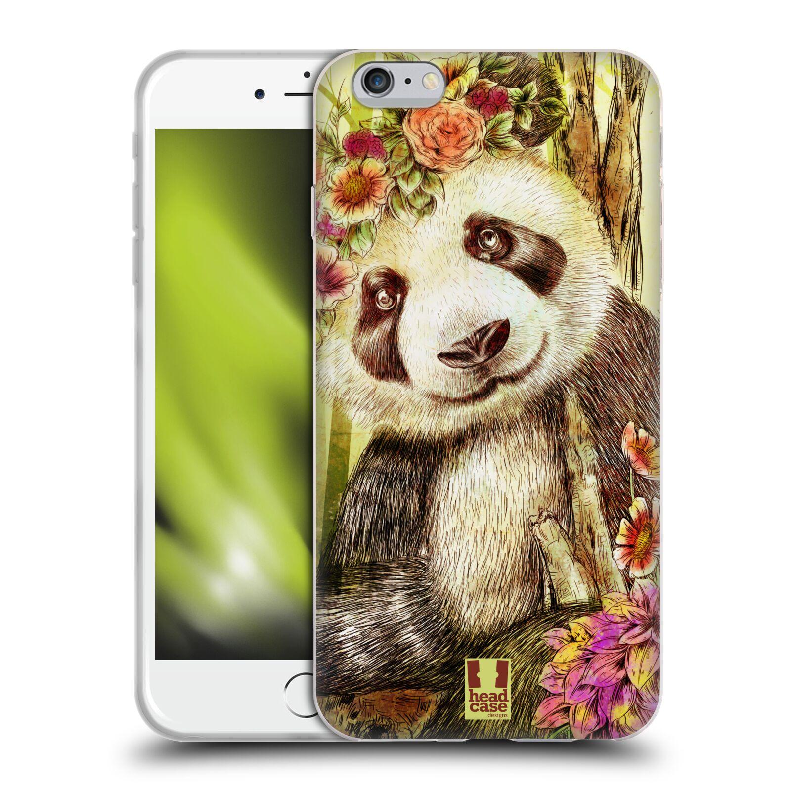 HEAD CASE silikonový obal na mobil Apple Iphone 6 PLUS/ 6S PLUS vzor Květinová zvířáta MEDVÍDEK PANDA