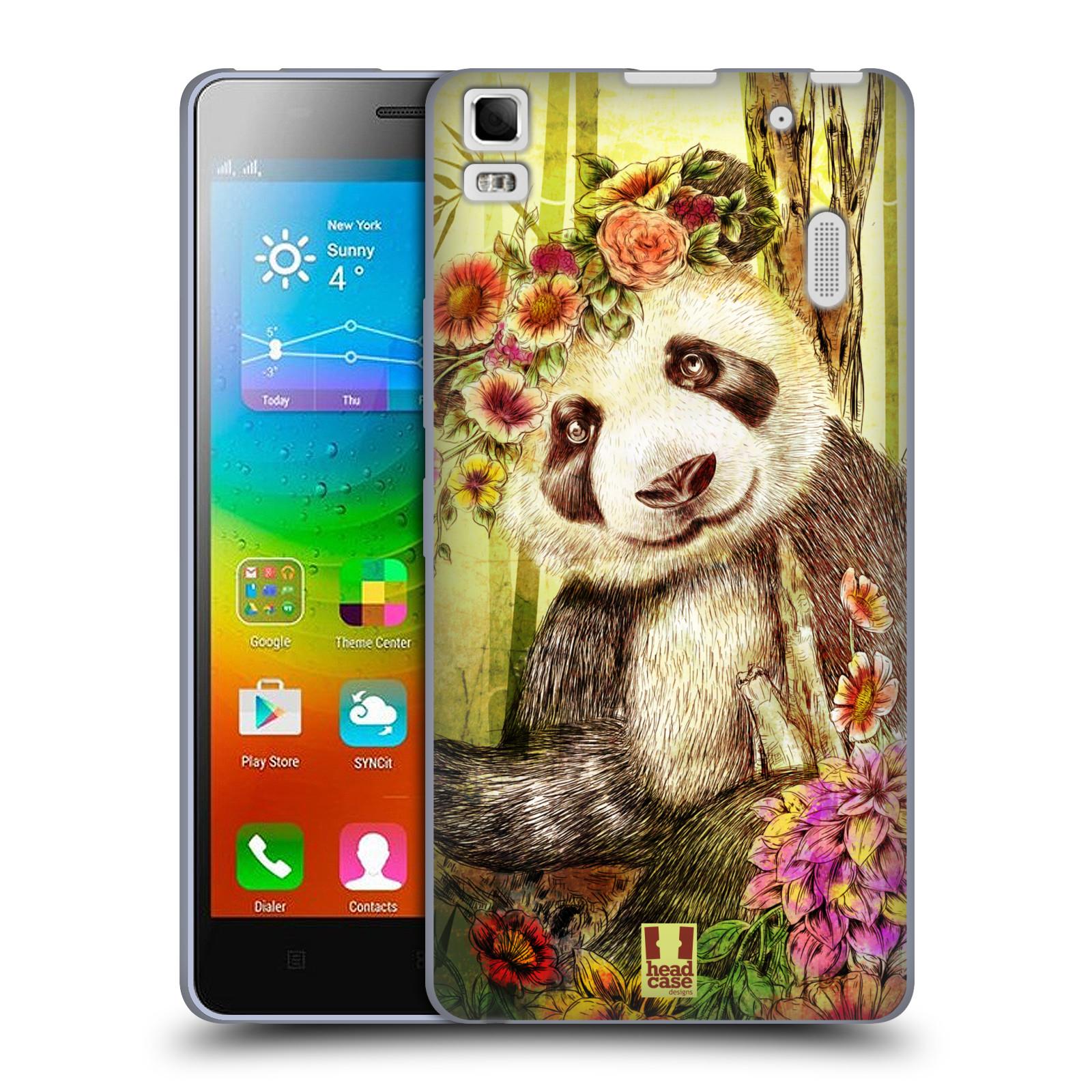 HEAD CASE silikonový obal na mobil Lenovo A7000 / A7000 DUAL / K3 Note vzor Květinová zvířáta MEDVÍDEK PANDA