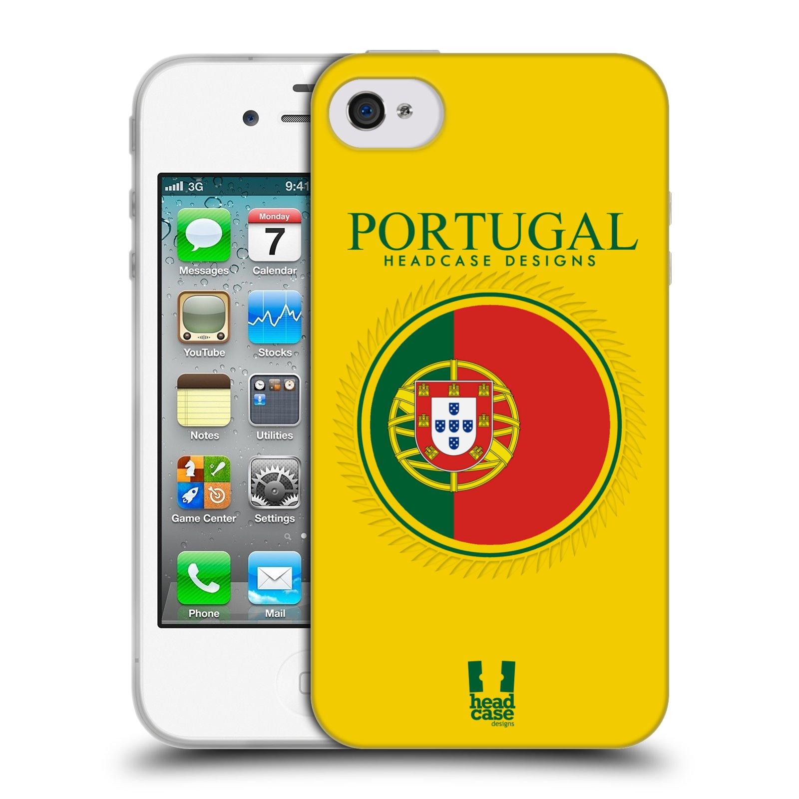 HEAD CASE silikonový obal na mobil Apple Iphone 4/4S vzor Vlajky státy 2 PORTUGALSKO