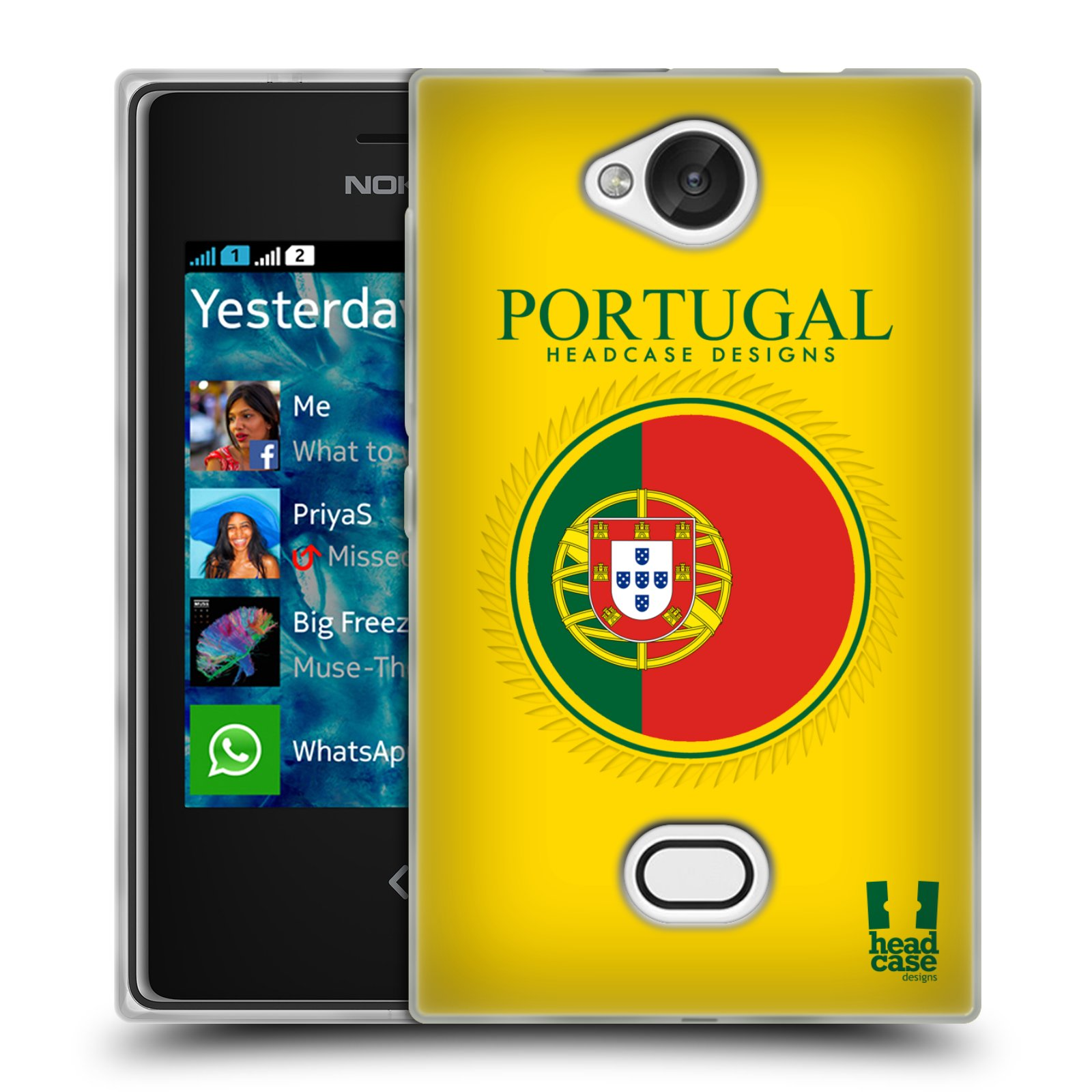 HEAD CASE silikonový obal na mobil NOKIA Asha 503 vzor Vlajky státy 2 PORTUGALSKO