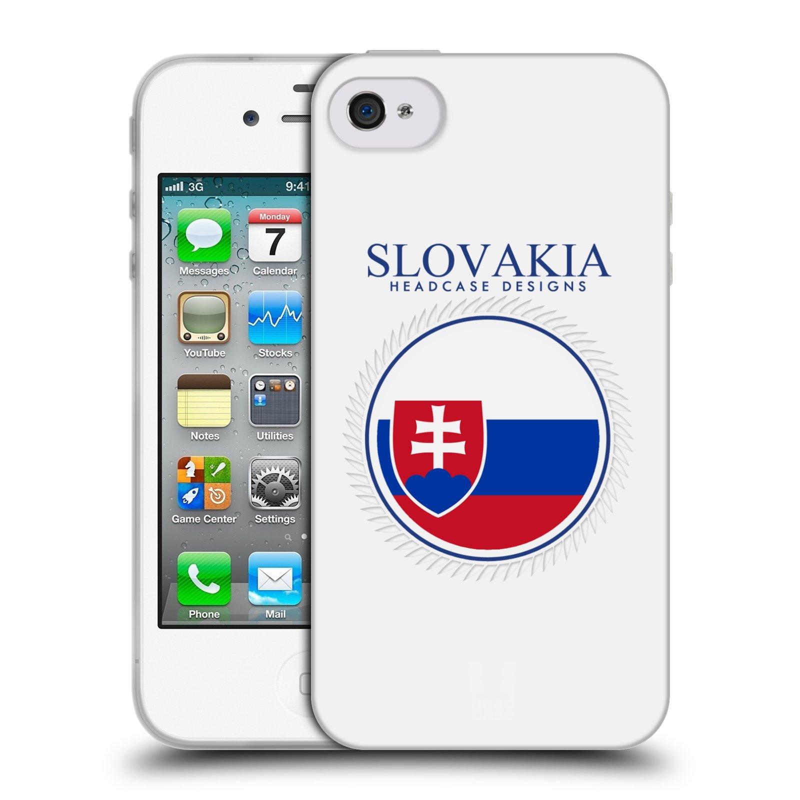 HEAD CASE silikonový obal na mobil Apple Iphone 4/4S vzor Vlajky státy 2 SLOVENSKO