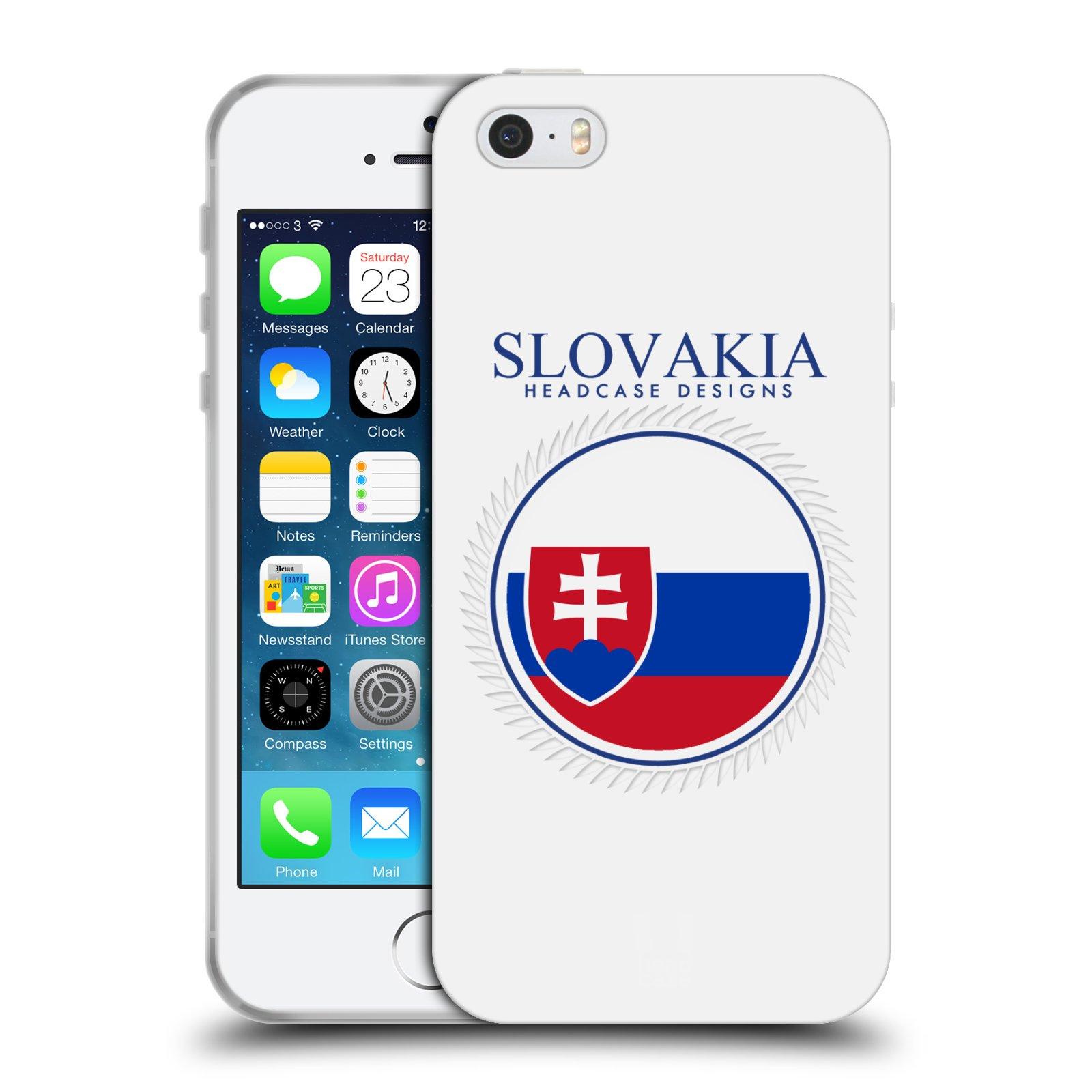 HEAD CASE silikonový obal na mobil Apple Iphone 5/5S vzor Vlajky státy 2 SLOVENSKO