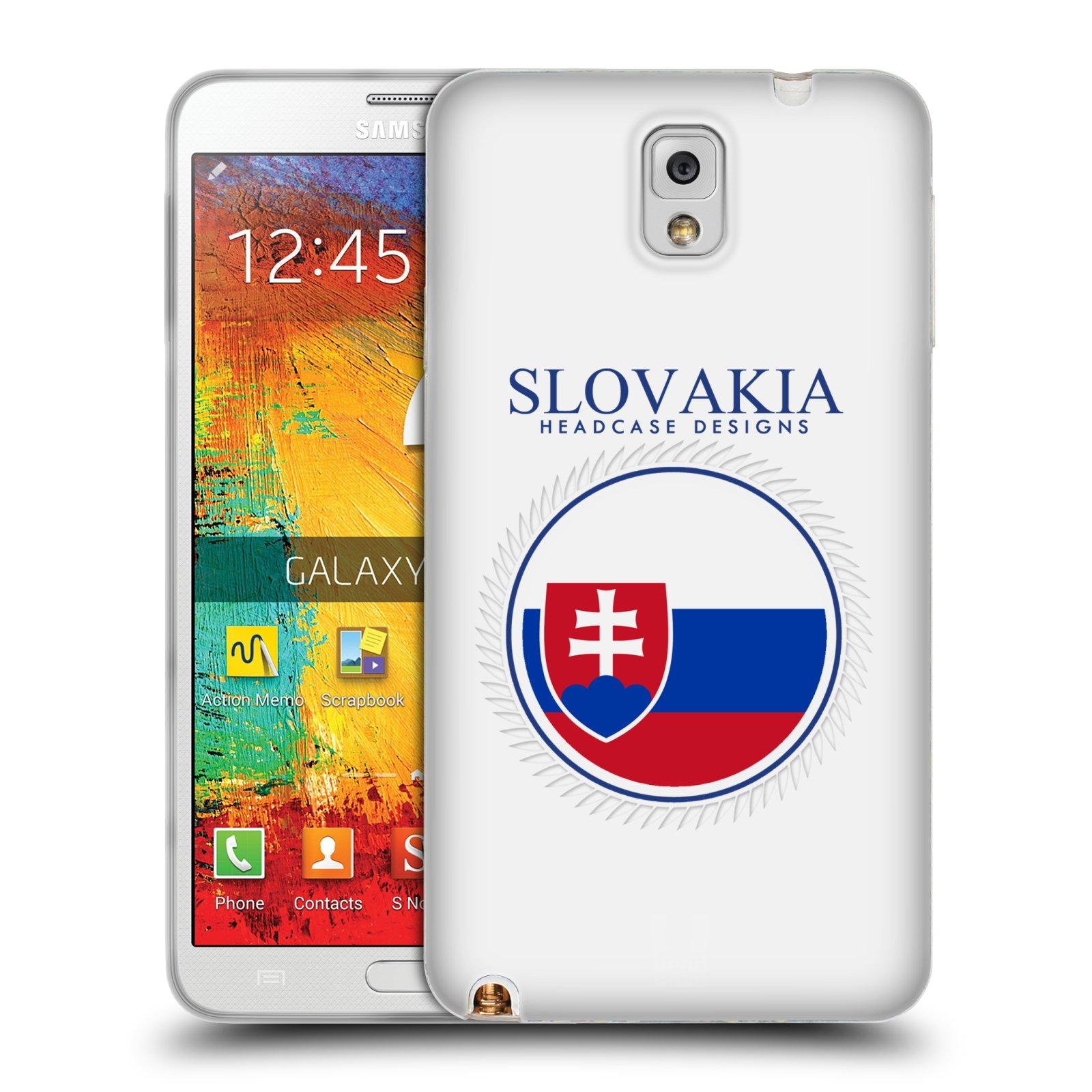 HEAD CASE silikonový obal na mobil Samsung Galaxy Note 3 (N9005) vzor Vlajky státy 2 SLOVENSKO