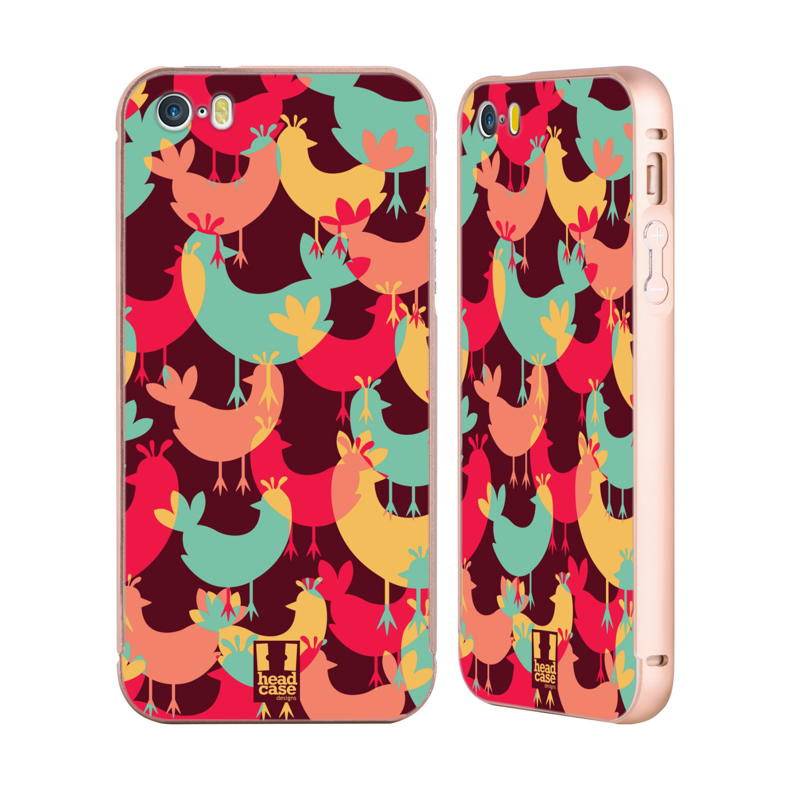 HEAD-CASE-FLOCK-OF-COLOURED-ANIMALS-GOLD-SLIDER-CASE-FOR-APPLE-iPHONE-PHONES