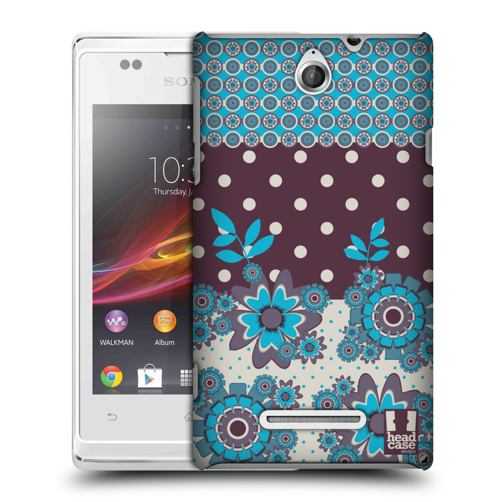 HEAD CASE DESIGNS FLORAL DOTS CASE FOR SONY XPERIA E DUAL C1605 C1505