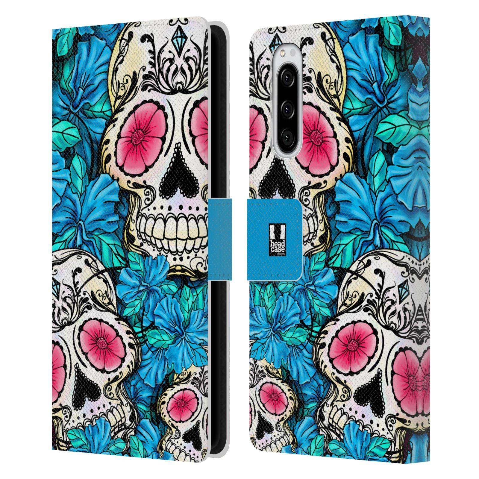 Pouzdro na mobil Sony Xperia 5 lebky a květiny modrá