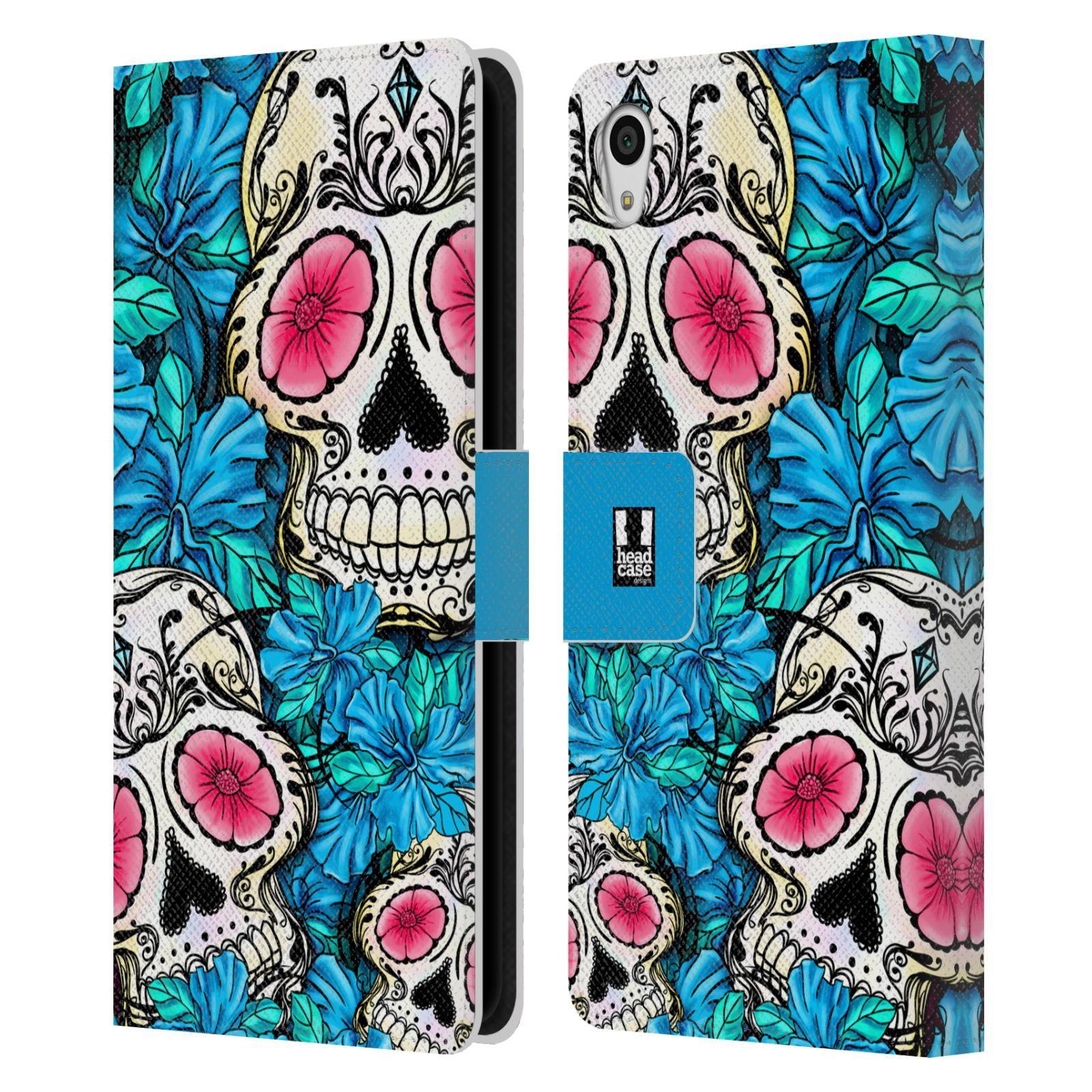 HEAD CASE Flipové pouzdro pro mobil SONY XPERIA Z5 lebky a květiny modrá