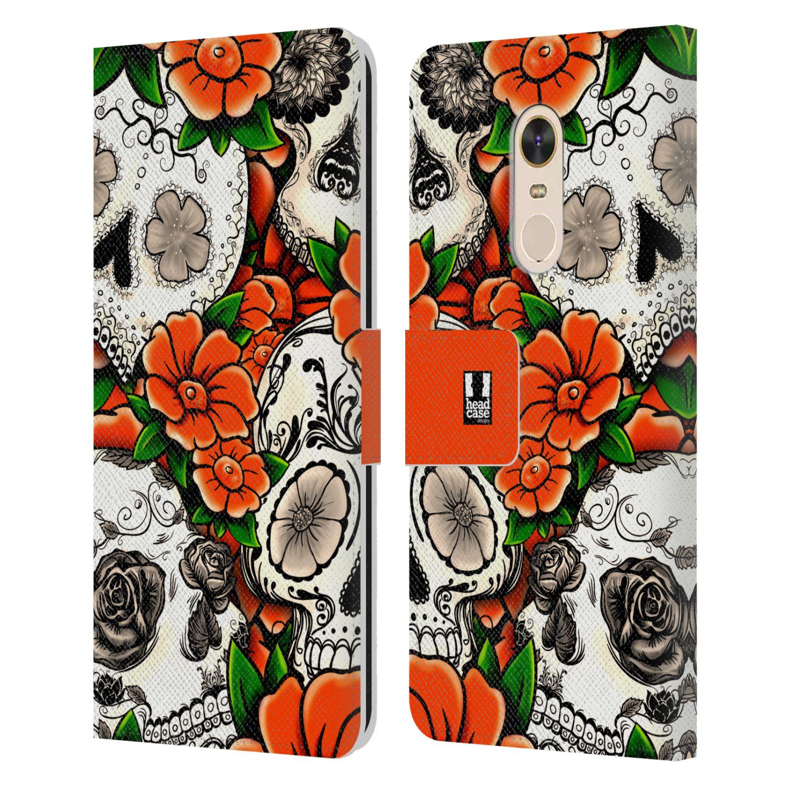 HEAD CASE Flipové pouzdro pro mobil Xiaomi Redmi Note 5 lebky a květiny oranžová