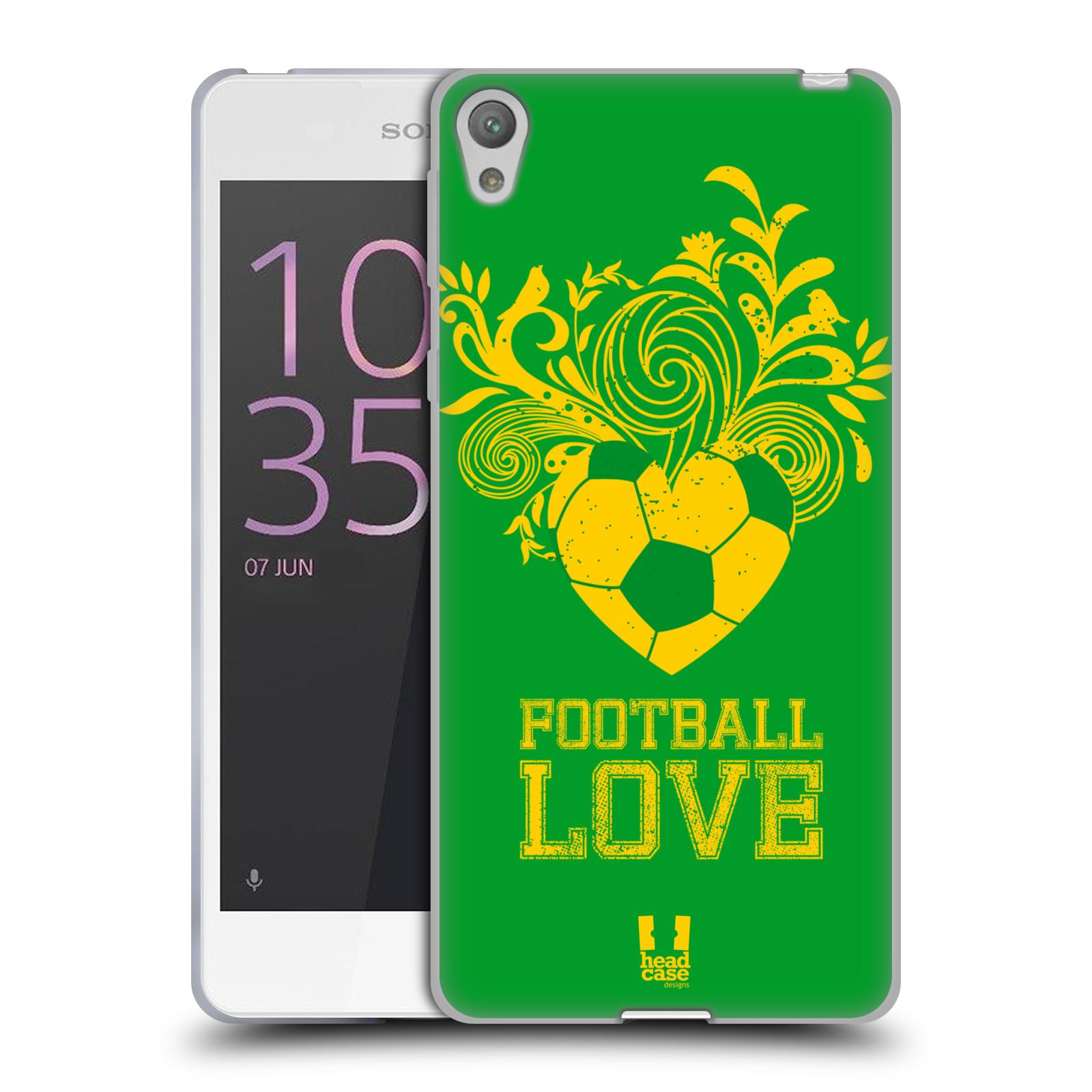 HEAD CASE silikonový obal na mobil Sony Xperia E5 Sport fotbalová láska zelená barva