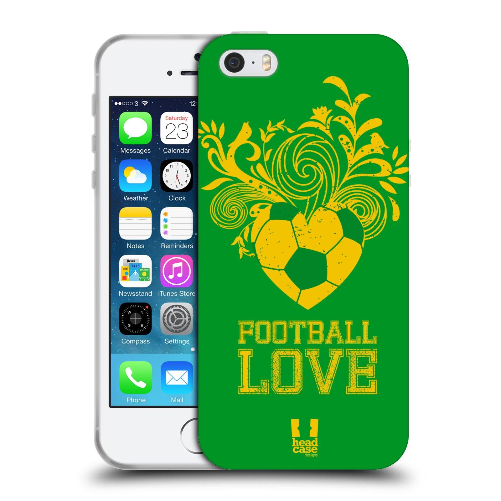 HEAD CASE silikonový obal na mobil Apple Iphone 5 5S Sport fotbalová láska  zelená barva 62b6665f010