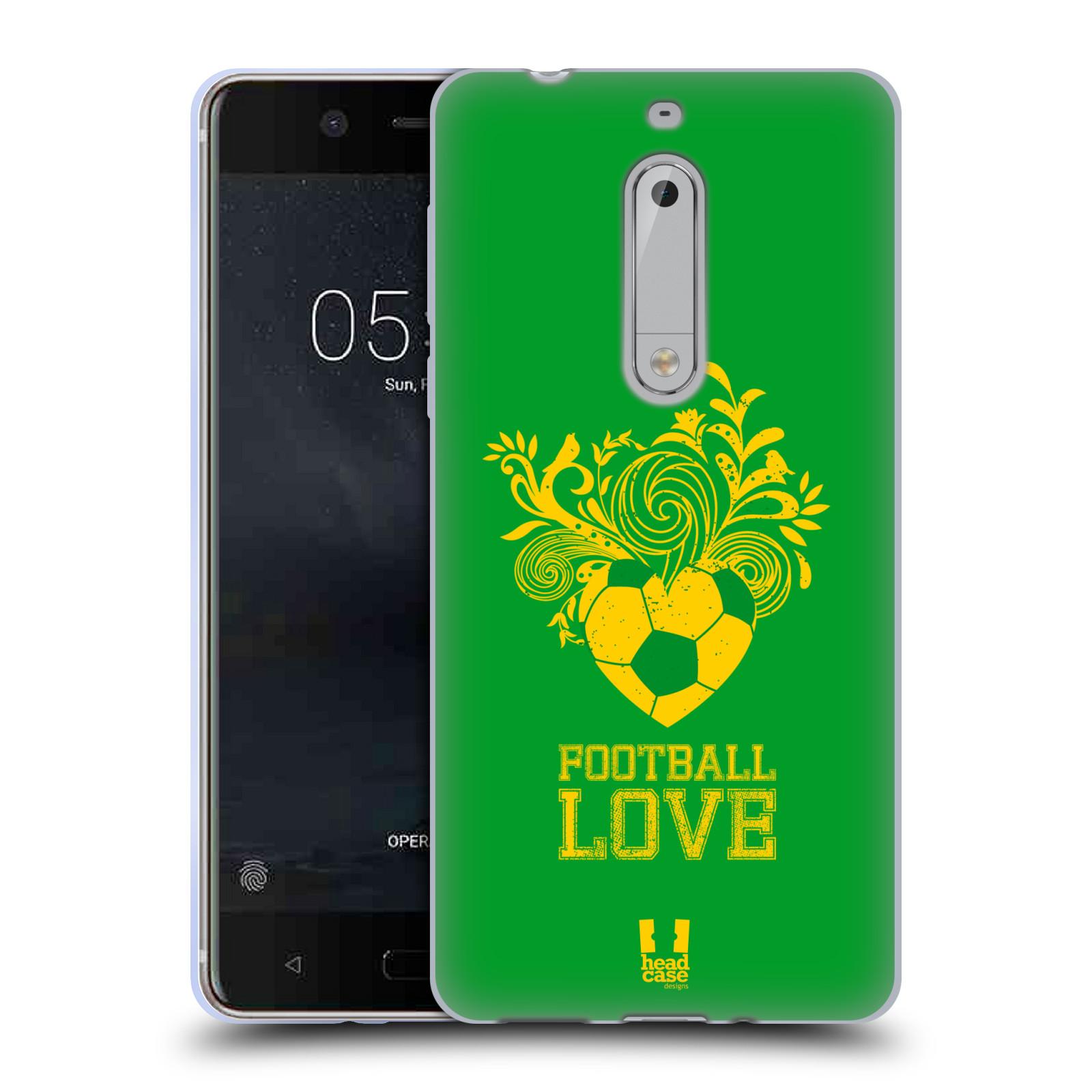 HEAD CASE silikonový obal na mobil Nokia 5 Sport fotbalová láska zelená barva