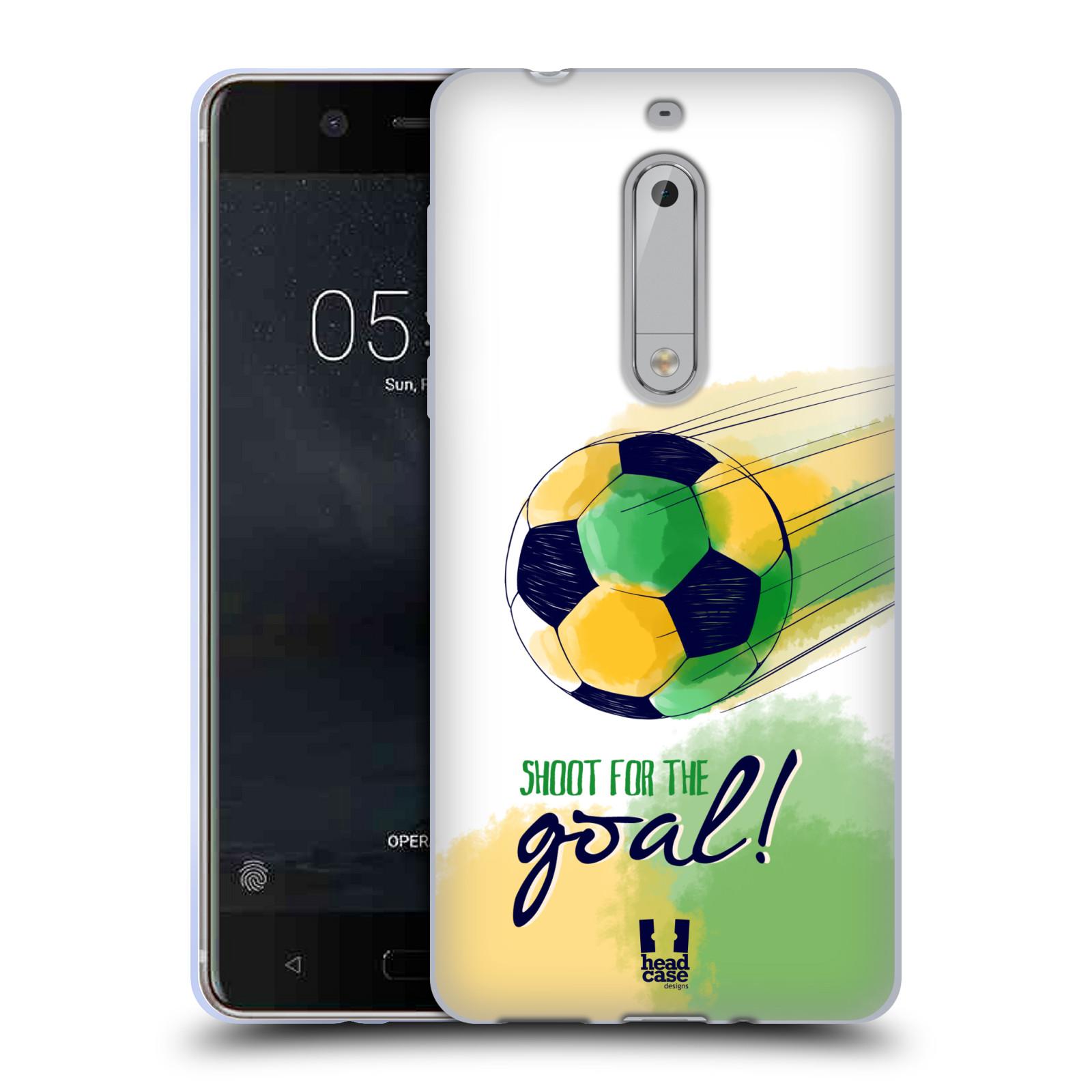 HEAD CASE silikonový obal na mobil Nokia 5 Sport fotbalový gól zelená barva