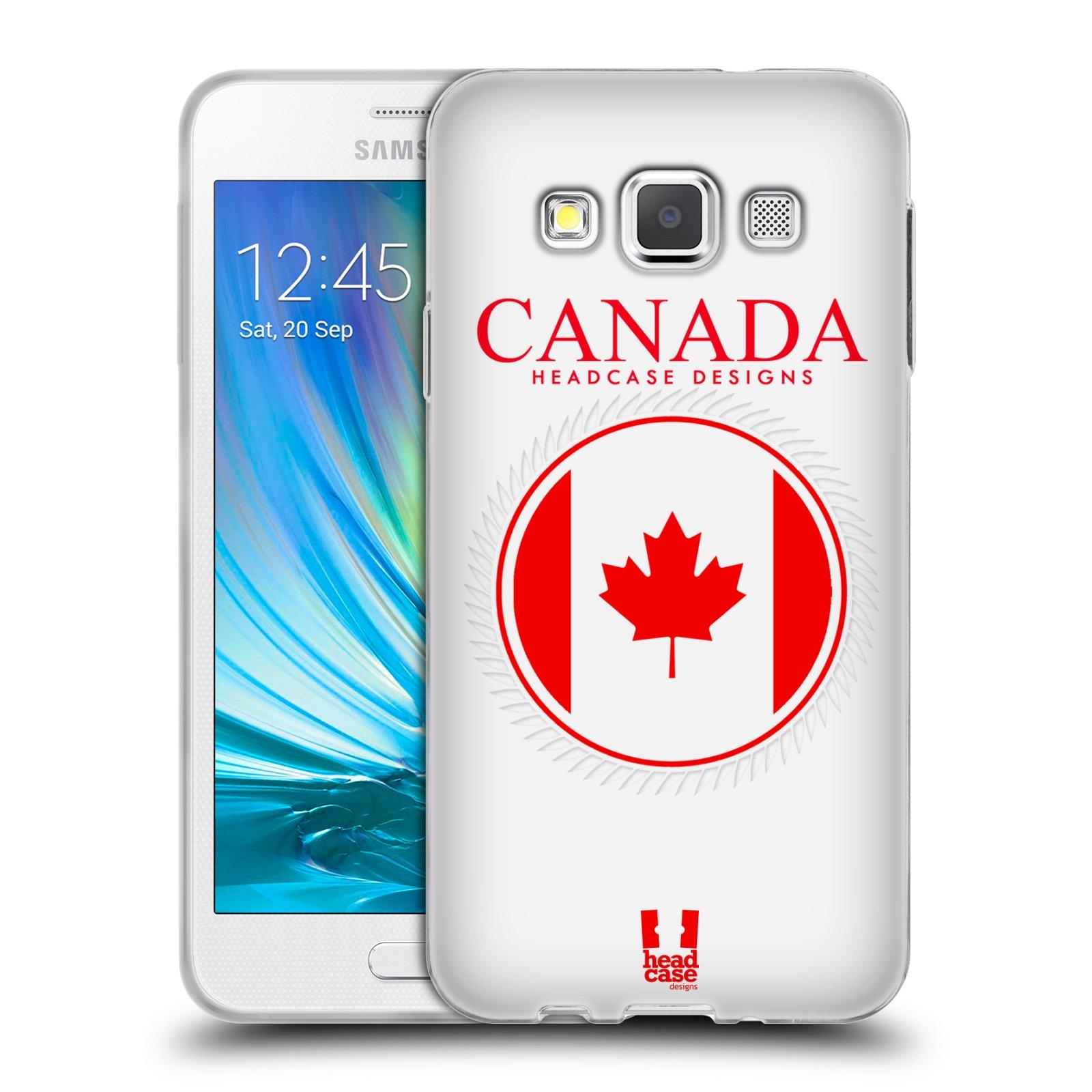 HEAD CASE silikonový obal na mobil Samsung Galaxy A3 vzor Vlajky státy kreslené KANADA