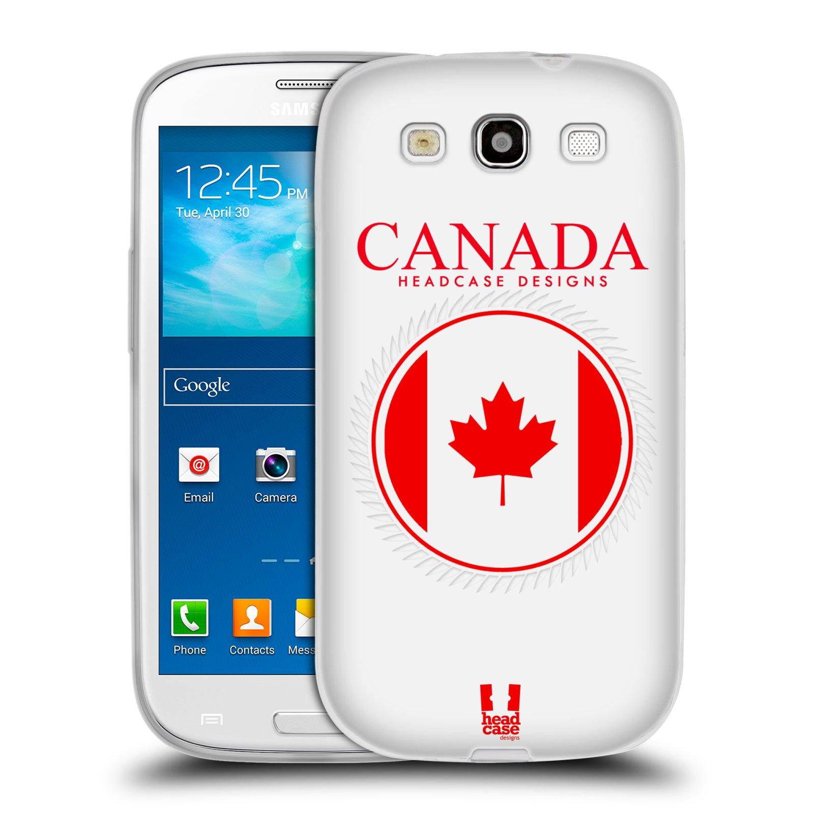 HEAD CASE silikonový obal na mobil Samsung Galaxy S3 i9300 vzor Vlajky státy kreslené KANADA