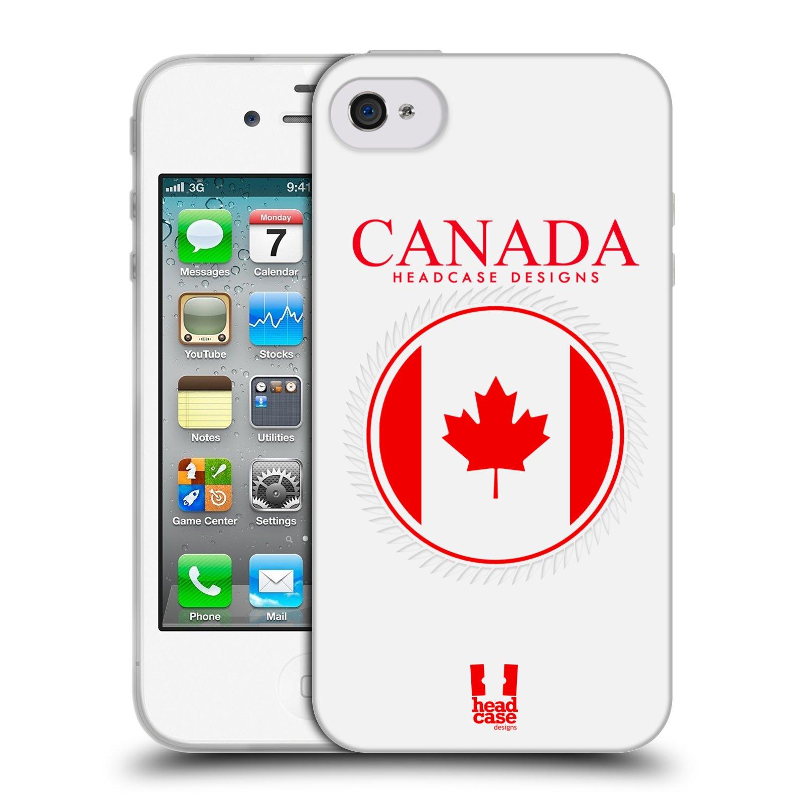 HEAD CASE silikonový obal na mobil Apple Iphone 4/4S vzor Vlajky státy kreslené KANADA