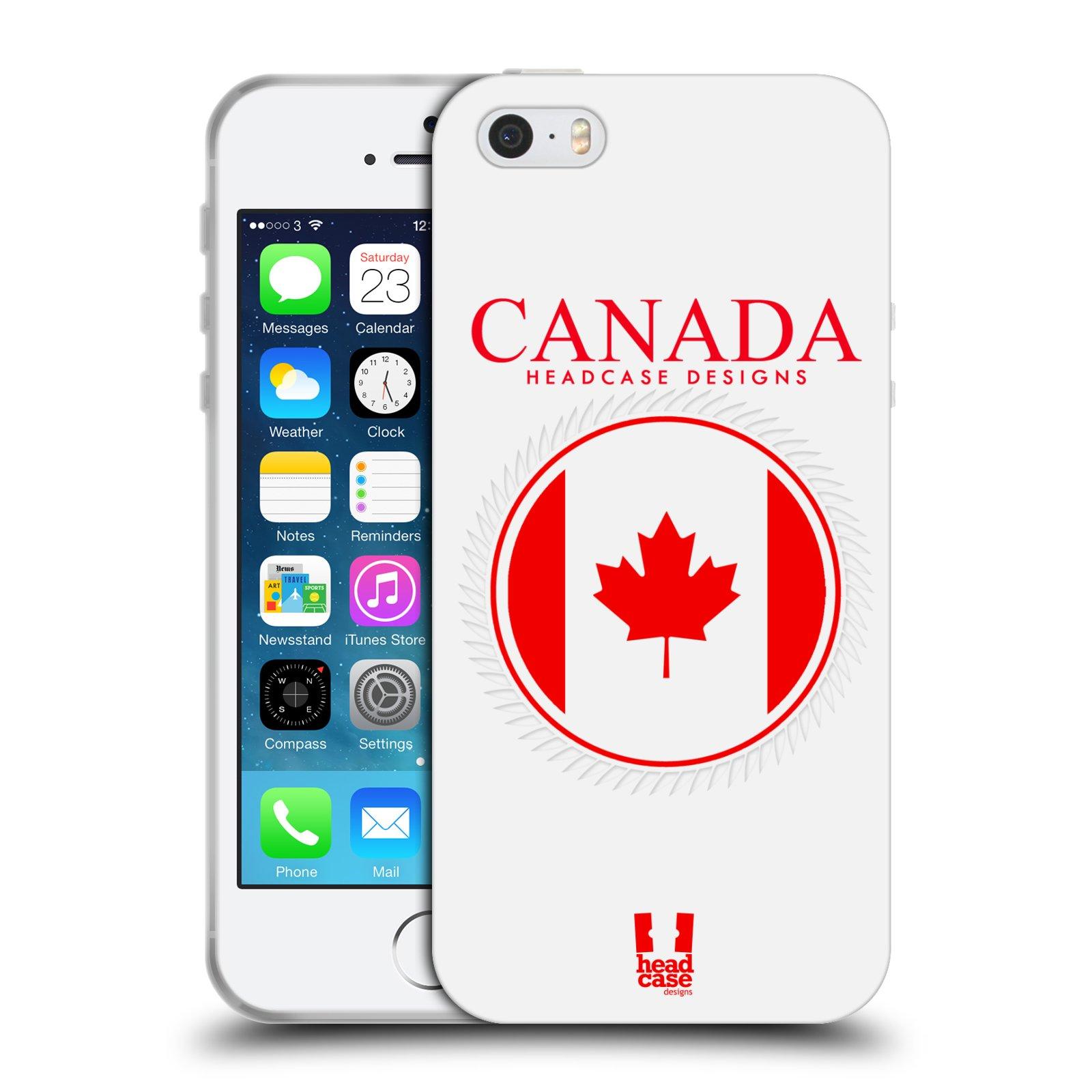 HEAD CASE silikonový obal na mobil Apple Iphone 5/5S vzor Vlajky státy kreslené KANADA