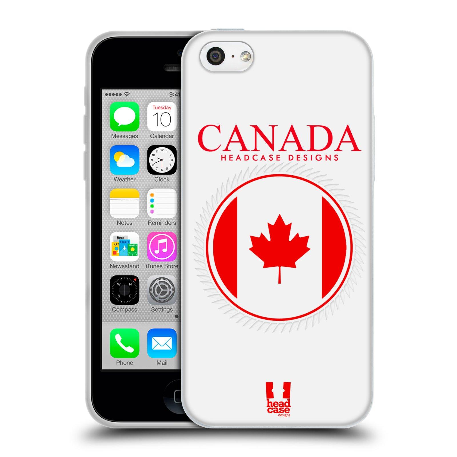 HEAD CASE silikonový obal na mobil Apple Iphone 5C vzor Vlajky státy kreslené KANADA