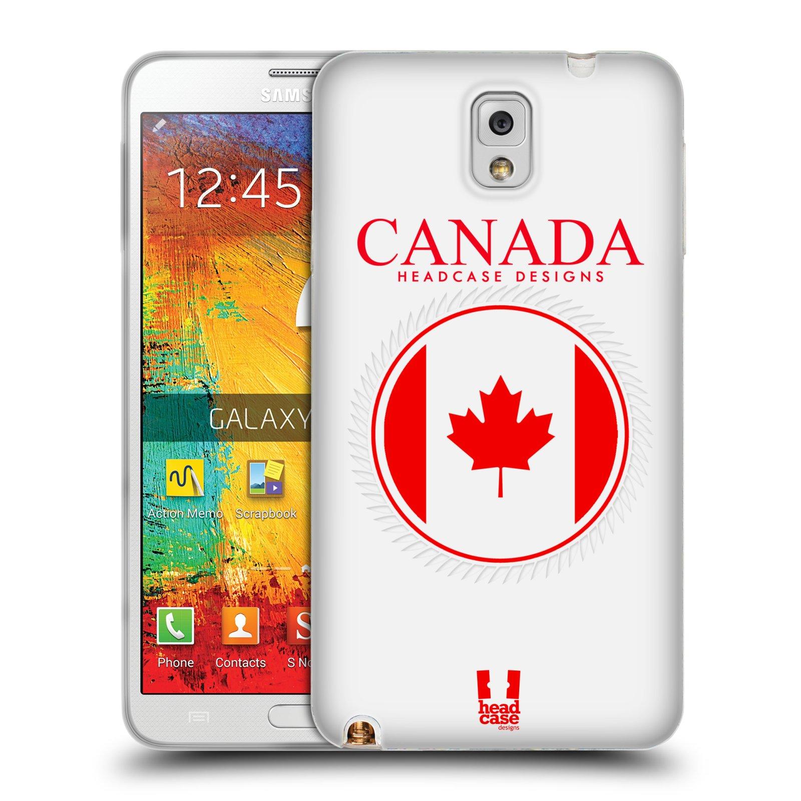 HEAD CASE silikonový obal na mobil Samsung Galaxy Note 3 (N9005) vzor Vlajky státy kreslené KANADA