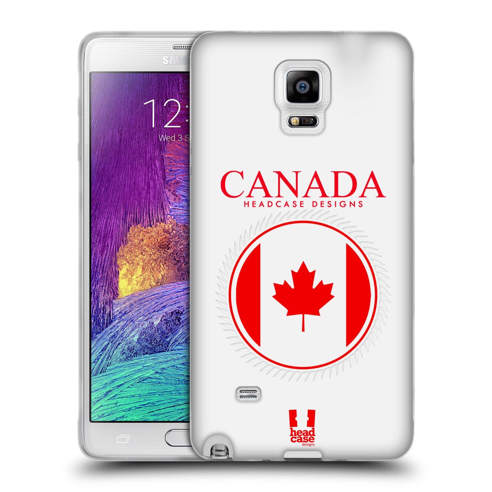 HEAD CASE silikonový obal na mobil Samsung Galaxy Note 4 (N910) vzor Vlajky státy kreslené KANADA