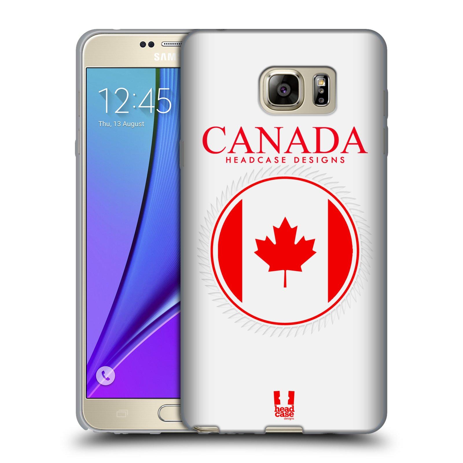 HEAD CASE silikonový obal na mobil Samsung Galaxy Note 5 (N920) vzor Vlajky státy kreslené KANADA