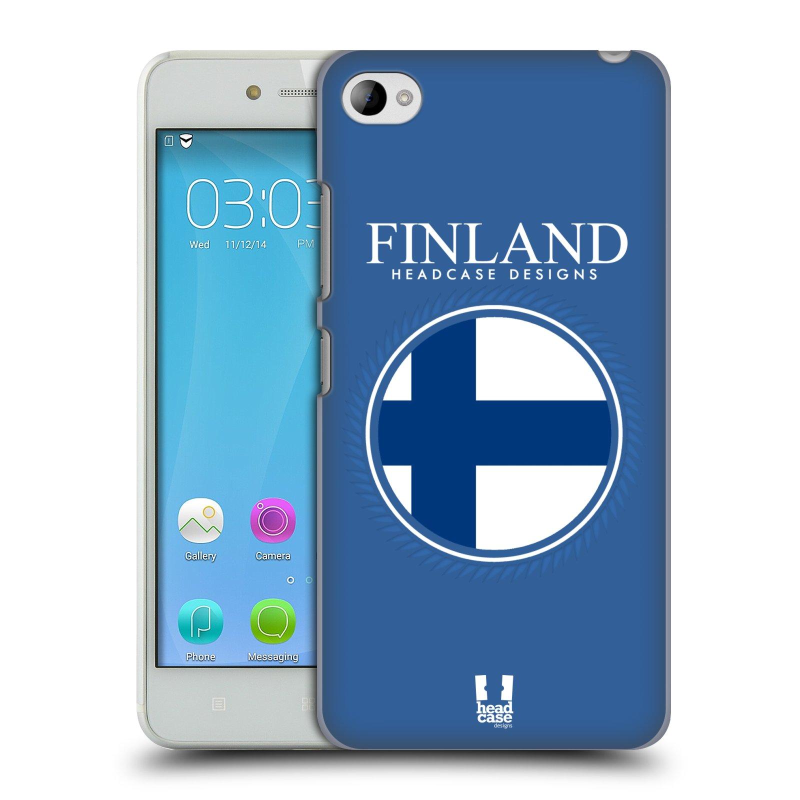 HEAD CASE pevný plastový obal na mobil LENOVO S90 vzor Vlajky státy kreslené FINSKO MODRÁ