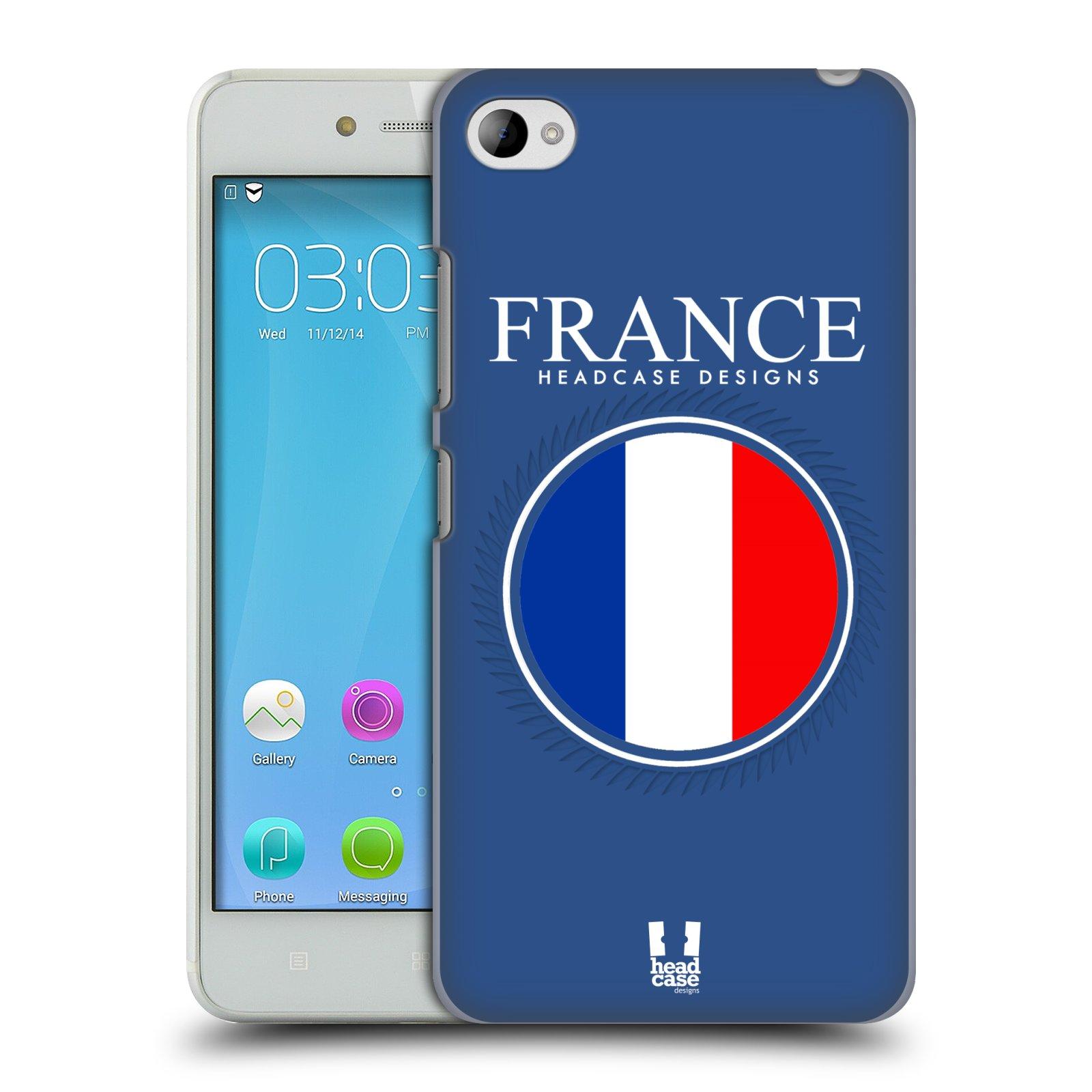 HEAD CASE pevný plastový obal na mobil LENOVO S90 vzor Vlajky státy kreslené FRANCIE MODRÁ