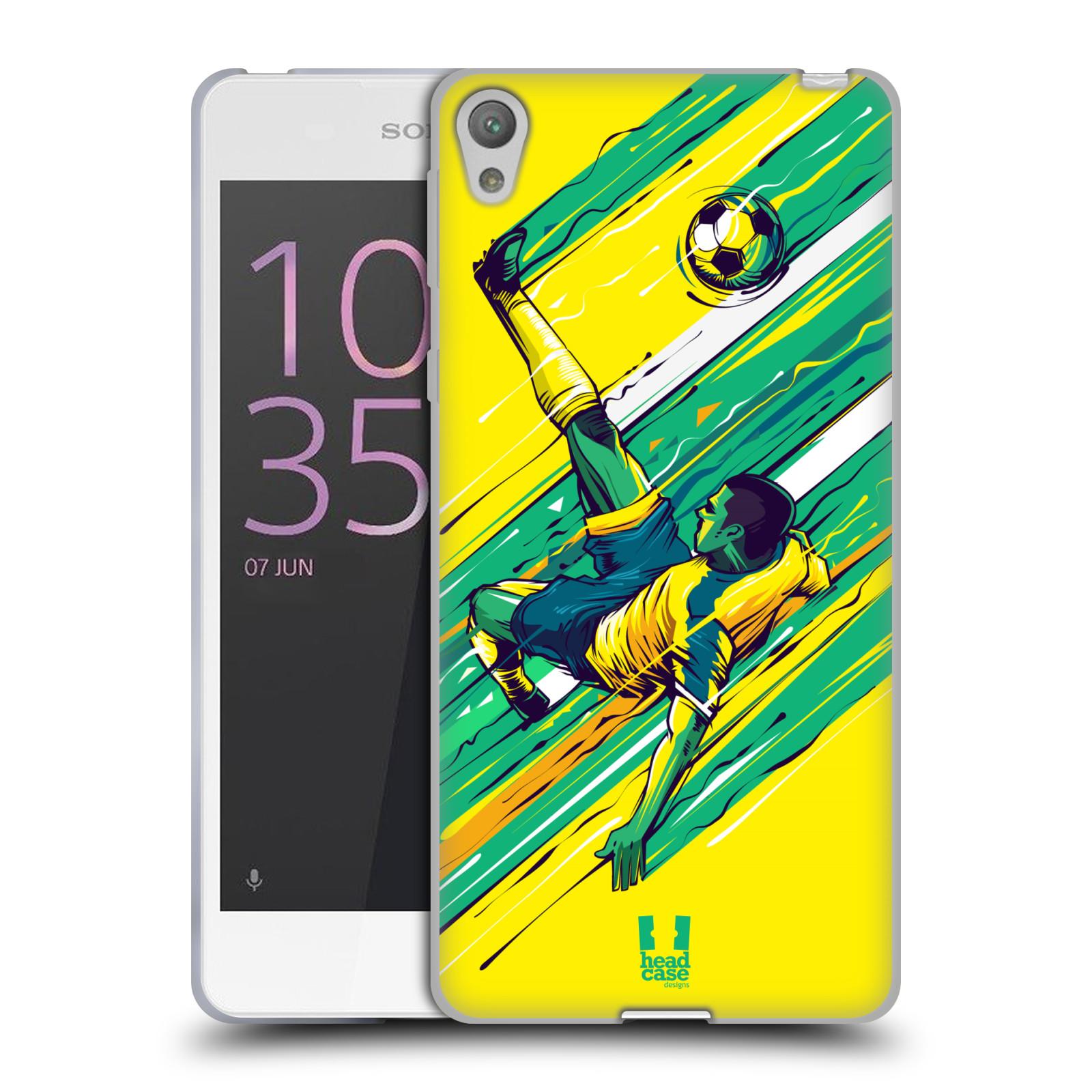 HEAD CASE silikonový obal na mobil Sony Xperia E5 Sport fotbal kreslený nůžky