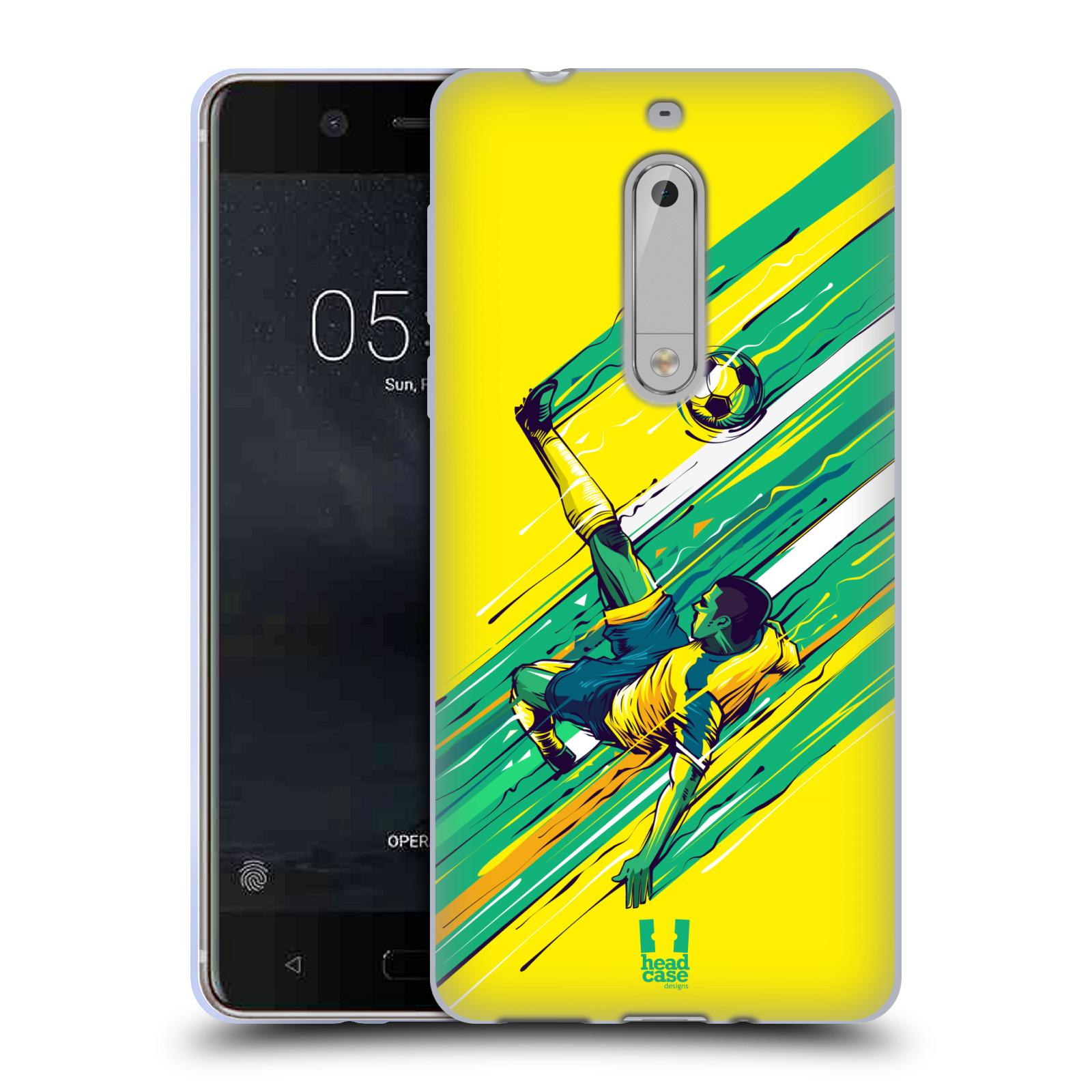 HEAD CASE silikonový obal na mobil Nokia 5 Sport fotbal kreslený nůžky