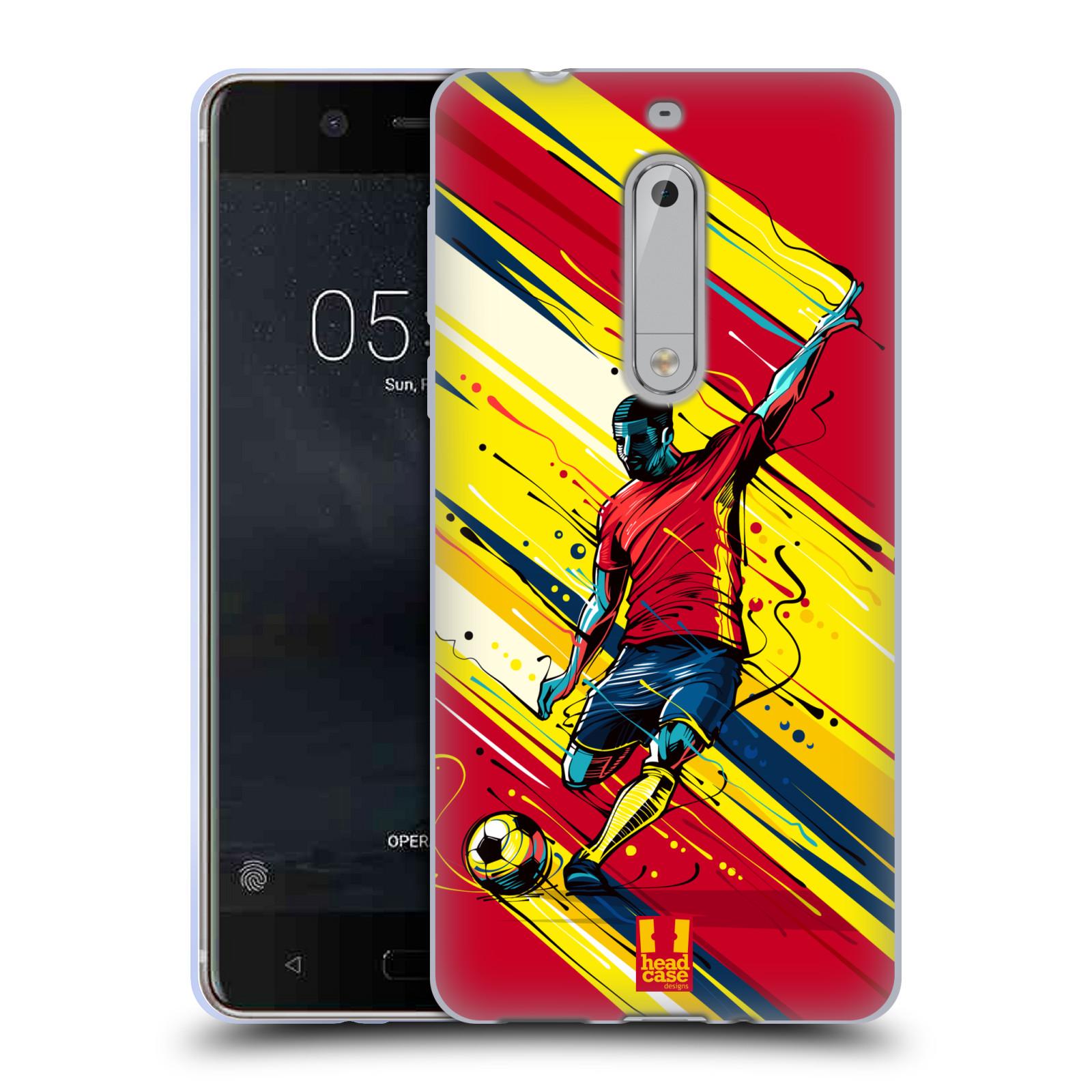 HEAD CASE silikonový obal na mobil Nokia 5 Sport fotbal střela do brány