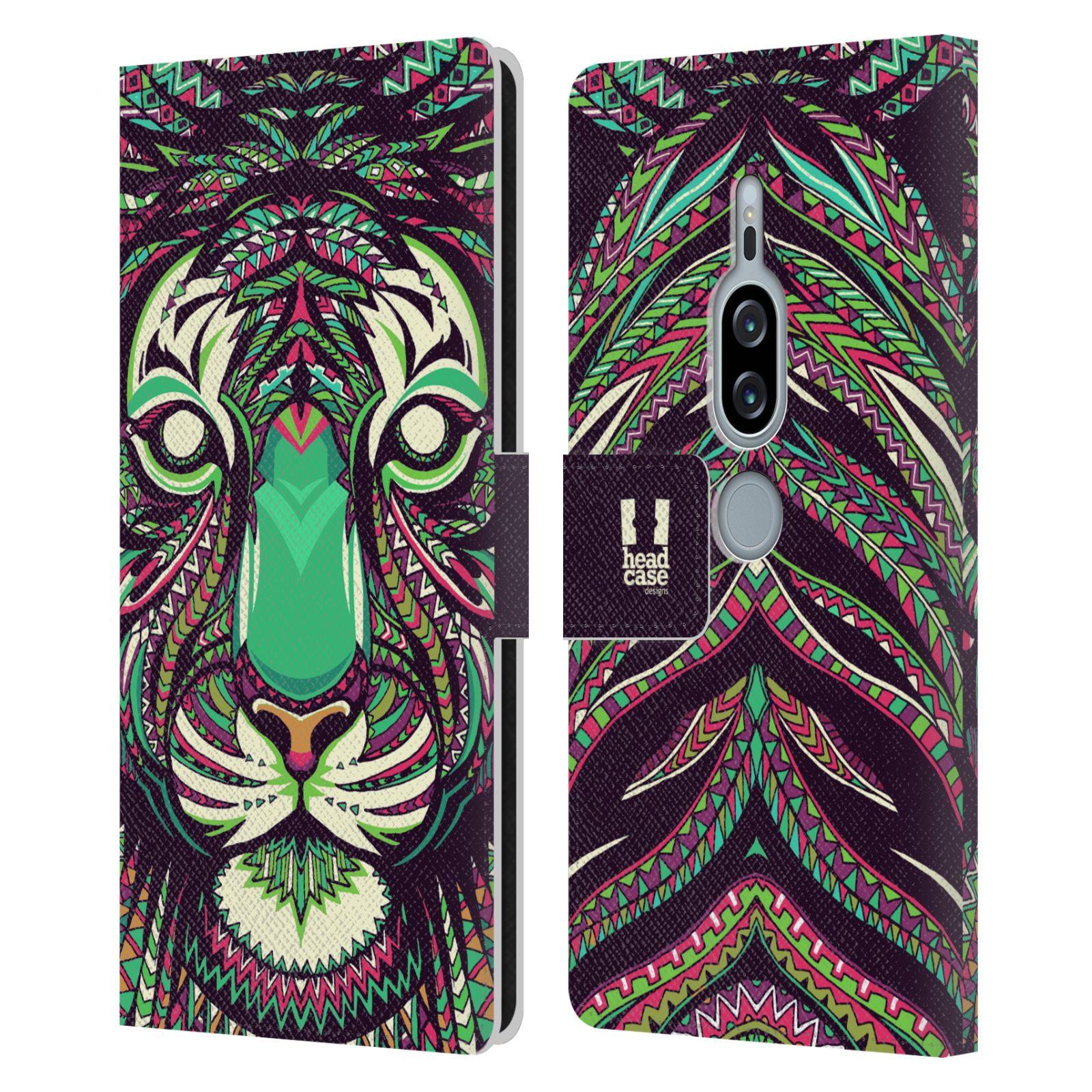 Pouzdro na mobil Sony Xperia XZ2 Premium - Head Case - Aztécký vzor tygr