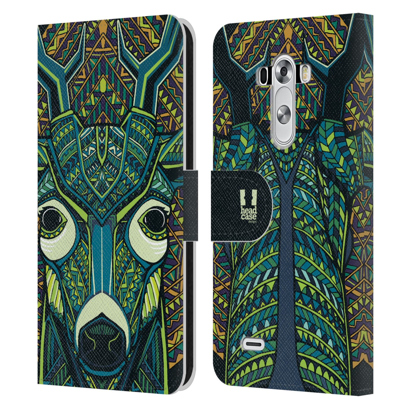 Book Covers With Faces : Head case designs aztec animal faces leather book wallet