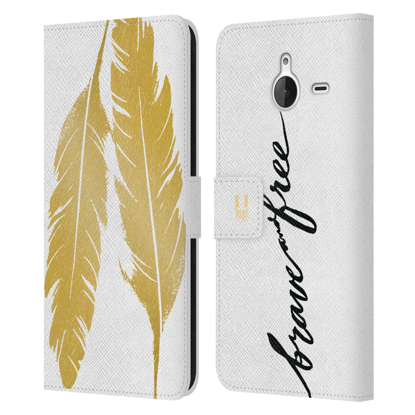 Pouzdro na mobil Nokia Lumia 640 XL - Head Case - Fashion zlaté pírka