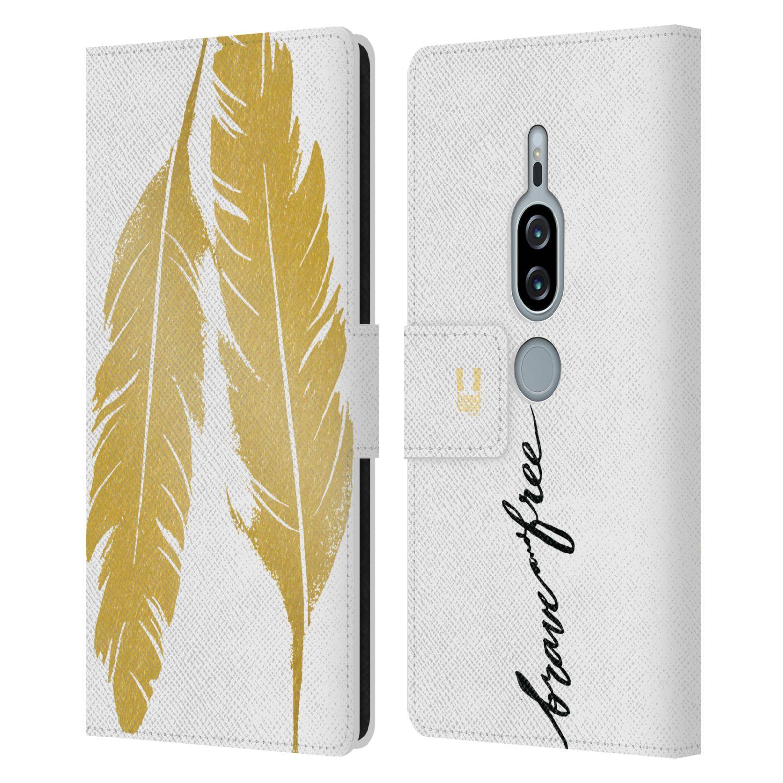 Pouzdro na mobil Sony Xperia XZ2 Premium - Head Case - Fashion zlaté pírka