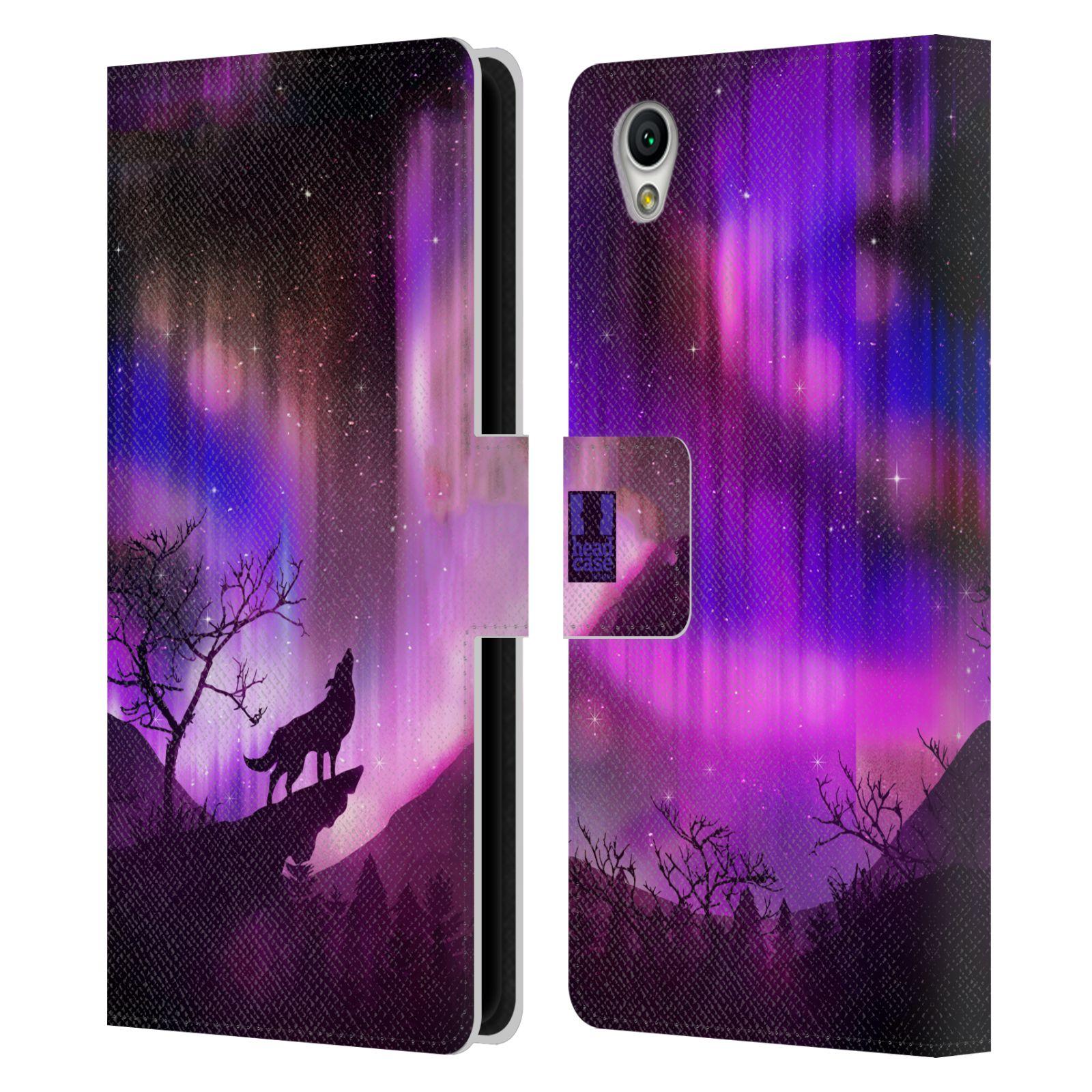 Pouzdro na mobil Sony Xperia L1 - Head Case - vlk a polární záře fialová