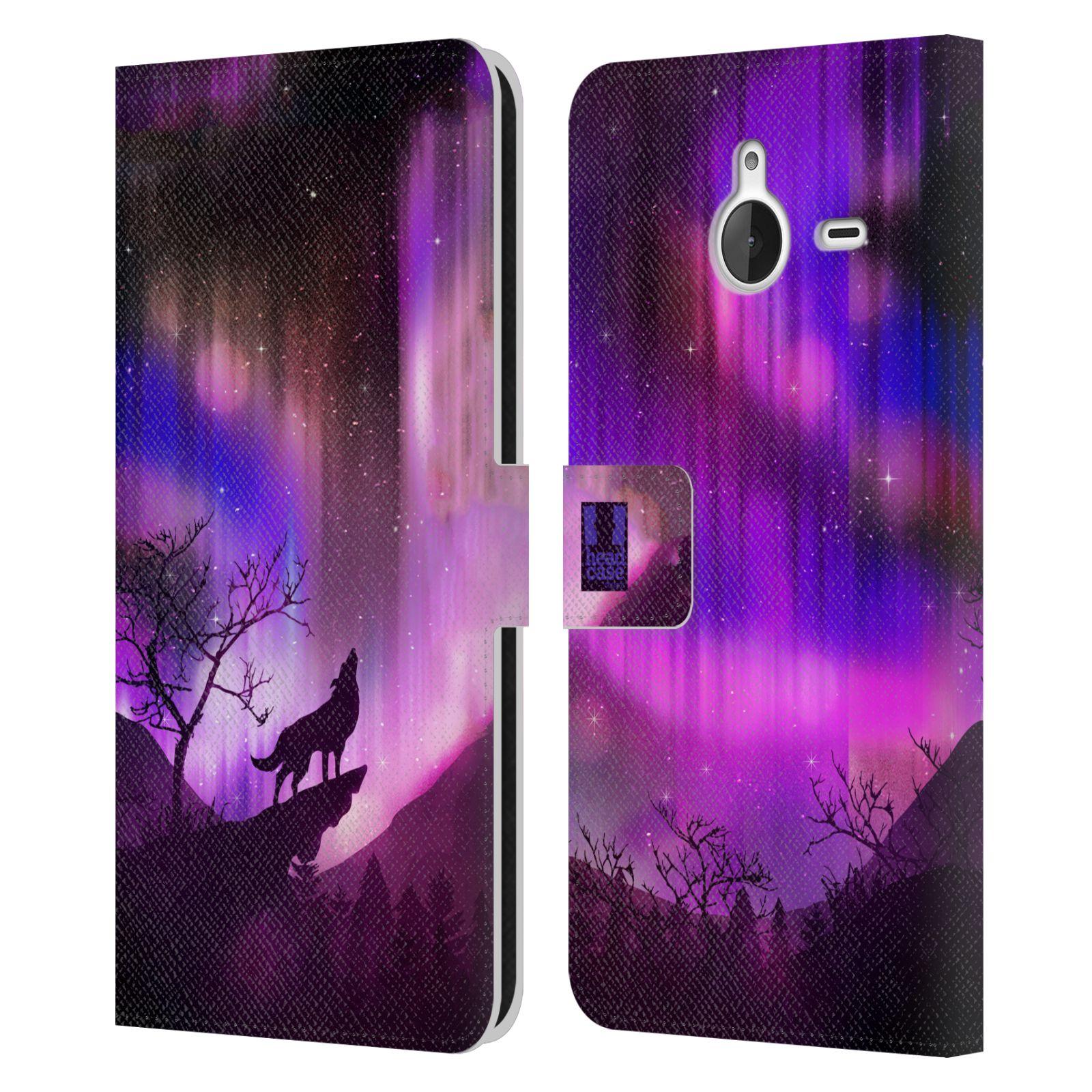 Pouzdro na mobil Nokia Lumia 640 XL - Head Case - vlk a polární záře fialová
