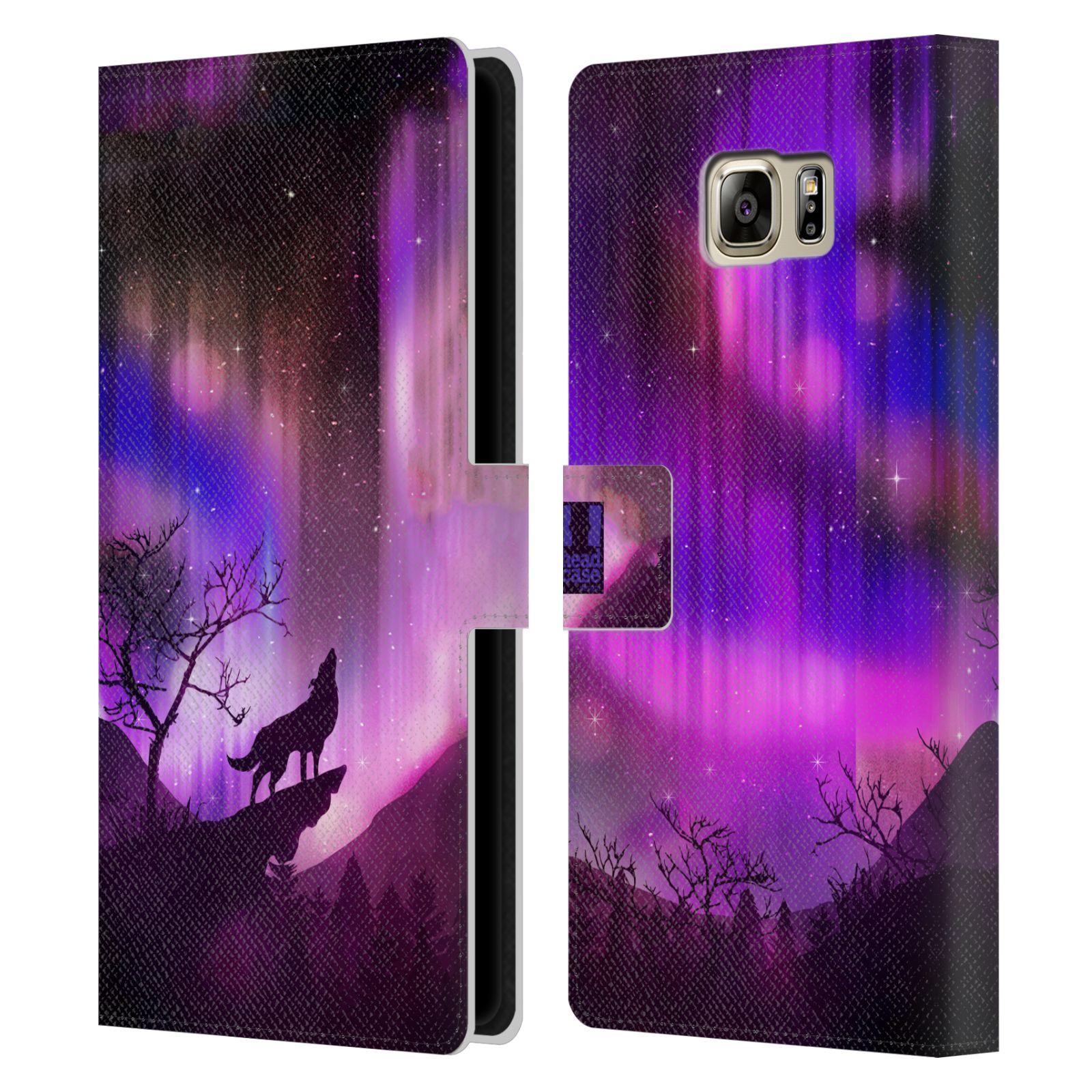 Pouzdro na mobil Samsung Galaxy NOTE 5 - Head Case - vlk a polární záře fialová
