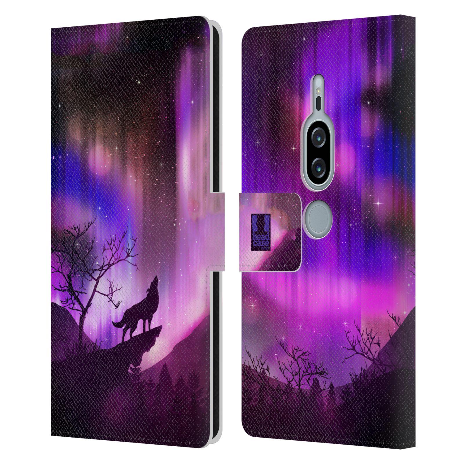 Pouzdro na mobil Sony Xperia XZ2 Premium - Head Case - vlk a polární záře fialová