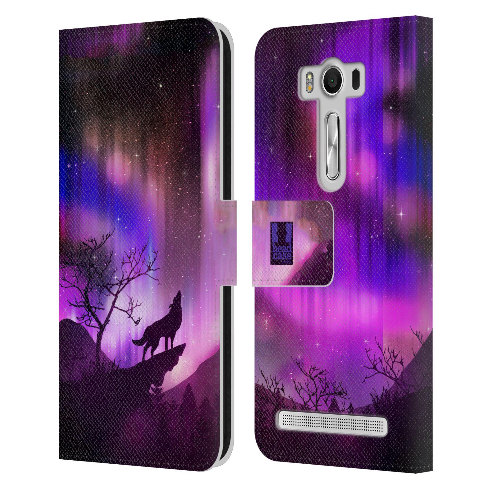 Pouzdro na mobil Asus Zenfone 2 Laser ZE500KL - Head Case - vlk a polární záře fialová