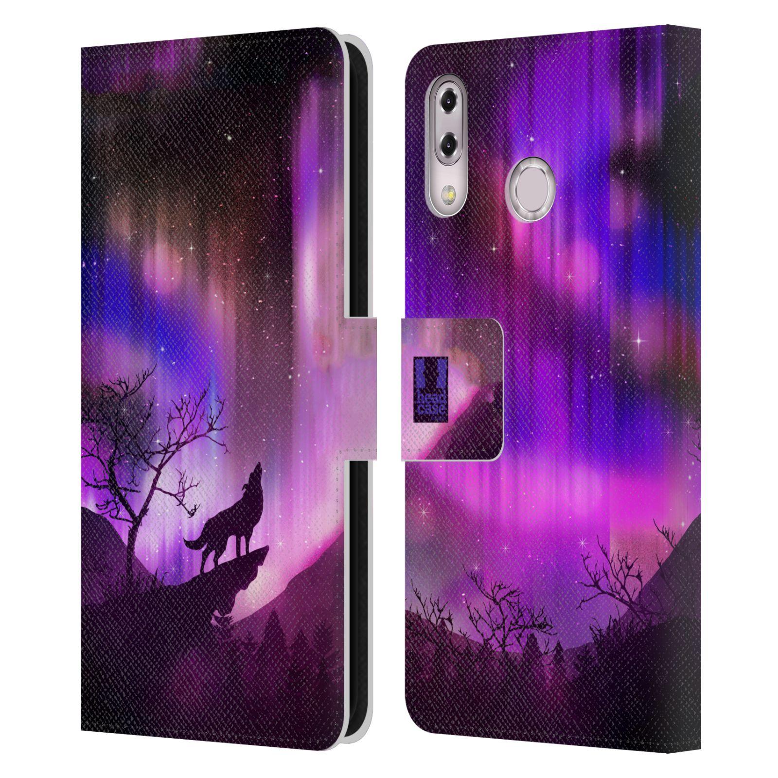 Pouzdro na mobil Asus Zenfone 5z ZS620KL / 5 ZE620KL - Head Case - vlk a polární záře fialová