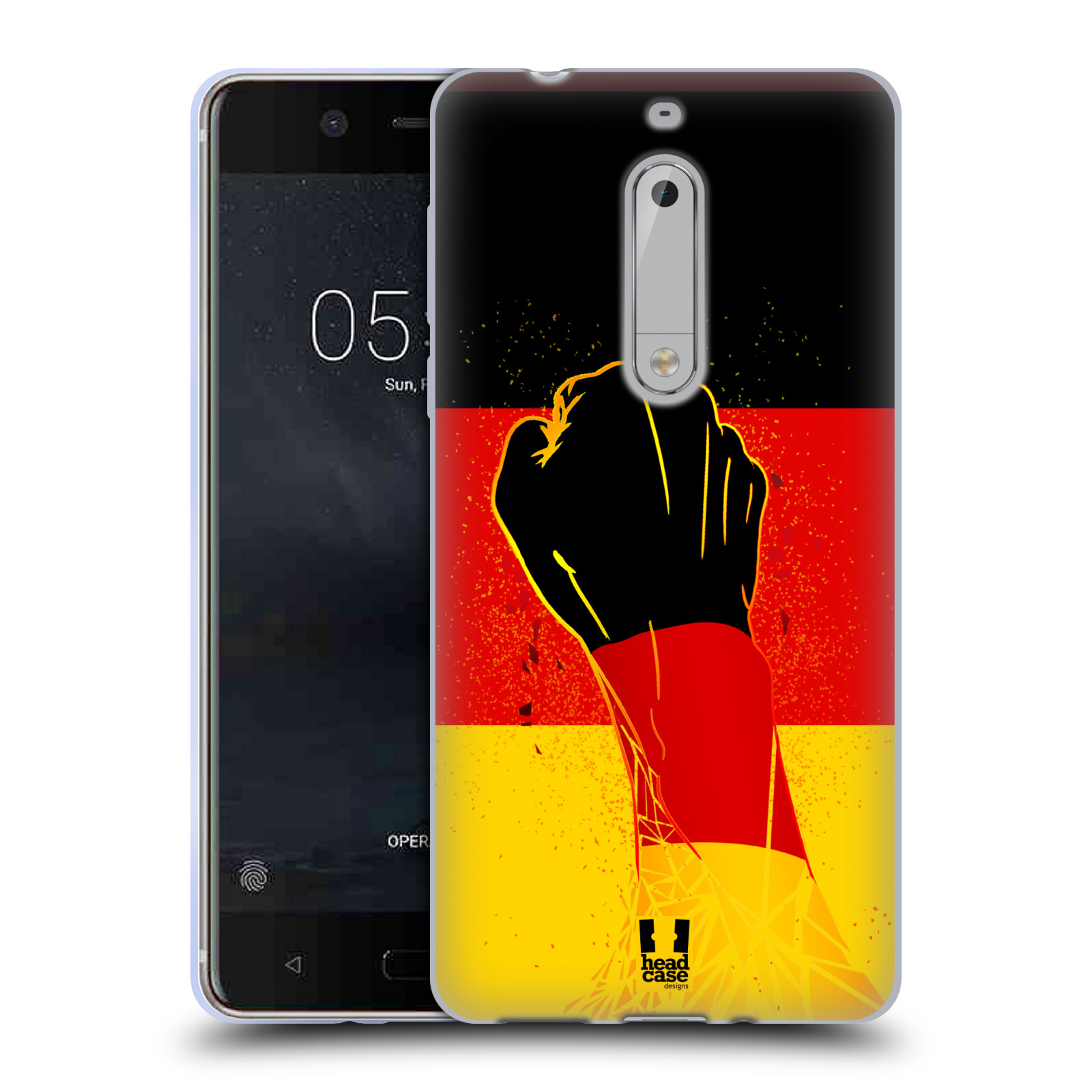 HEAD CASE silikonový obal na mobil Nokia 5 Sport fotbal fanoušek ruka