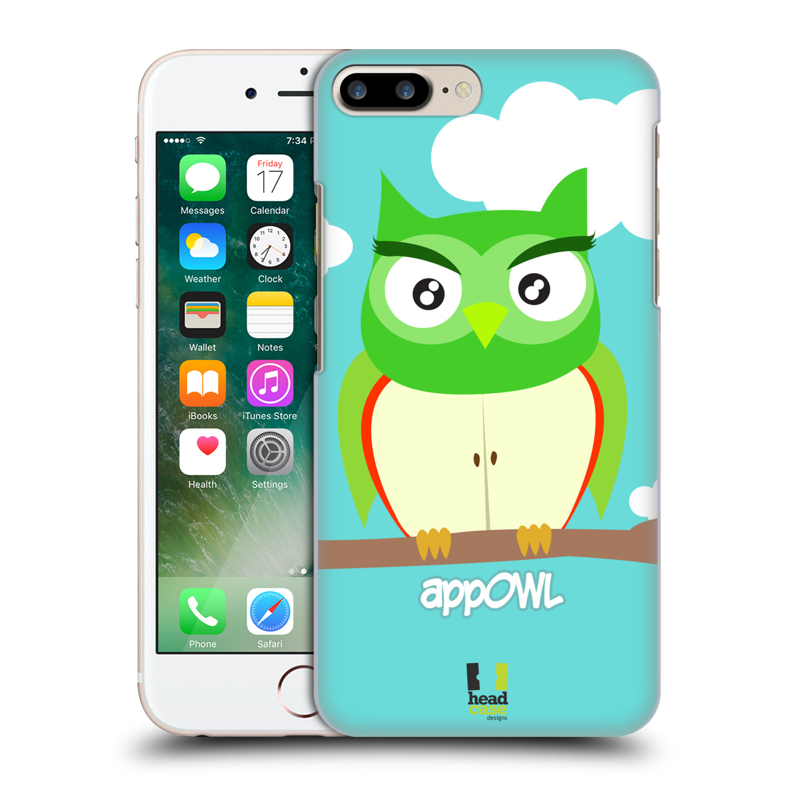 HEAD CASE plastový obal na mobil Apple Iphone 7 PLUS vzor Sovička a ovoce jablko