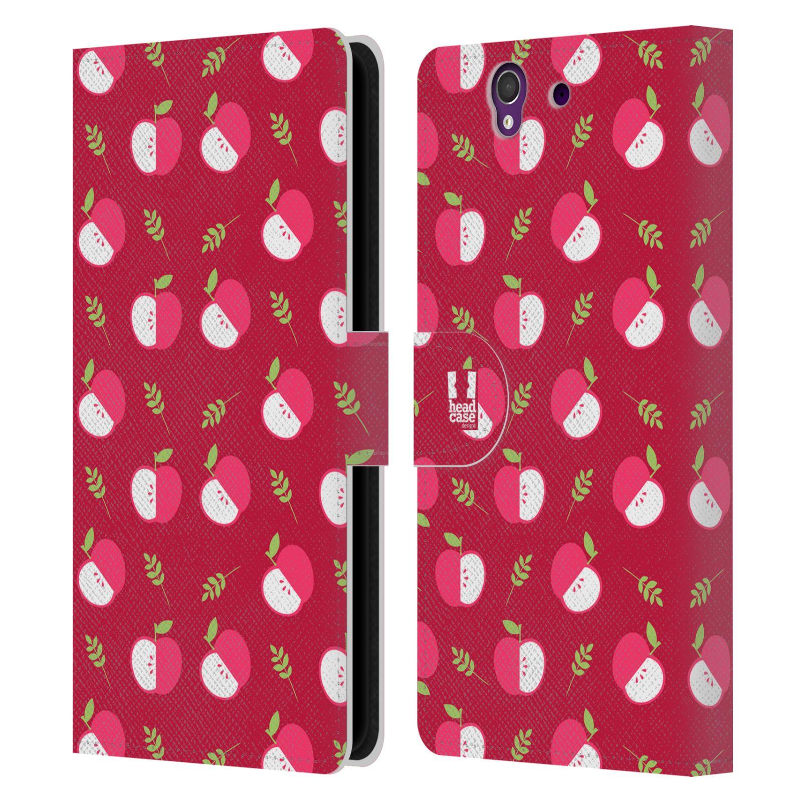 HEAD CASE Flipové pouzdro pro mobil SONY XPERIA Z (C6603) ovocné motivy jablíčko červený odstín
