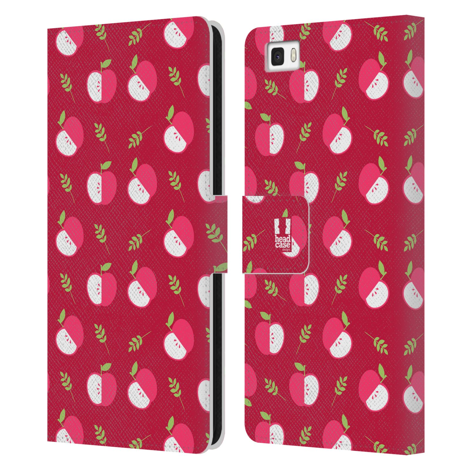 HEAD CASE Flipové pouzdro pro mobil Huawei P8 LITE ovocné motivy jablíčko červený odstín