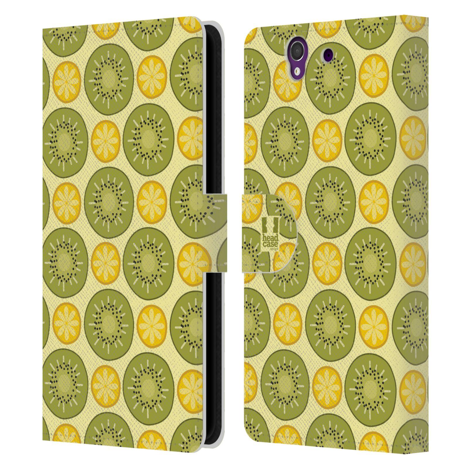 HEAD CASE Flipové pouzdro pro mobil SONY XPERIA Z (C6603) ovocné motivy citrus a kiwi