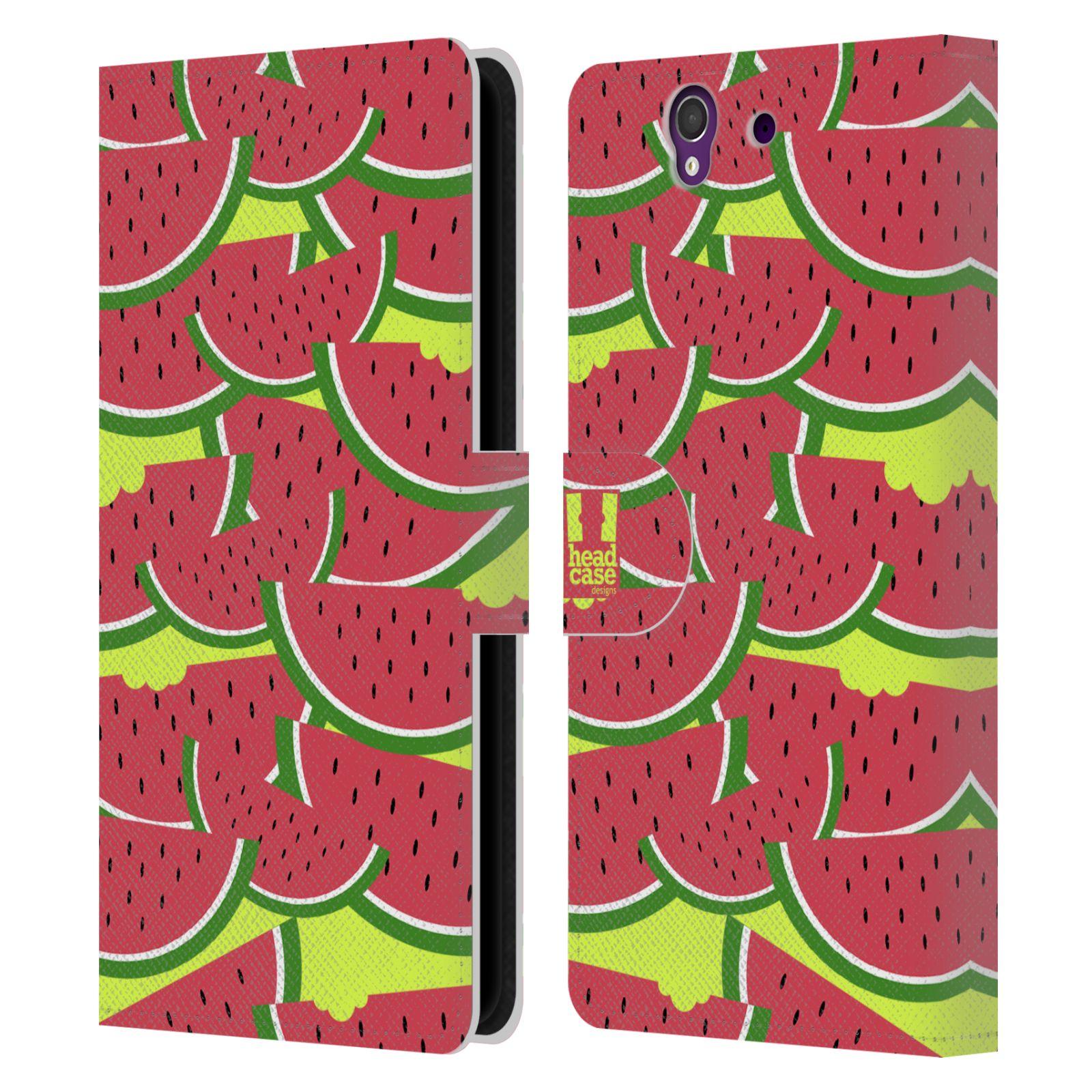 HEAD CASE Flipové pouzdro pro mobil SONY XPERIA Z (C6603) ovocné motivy meloun