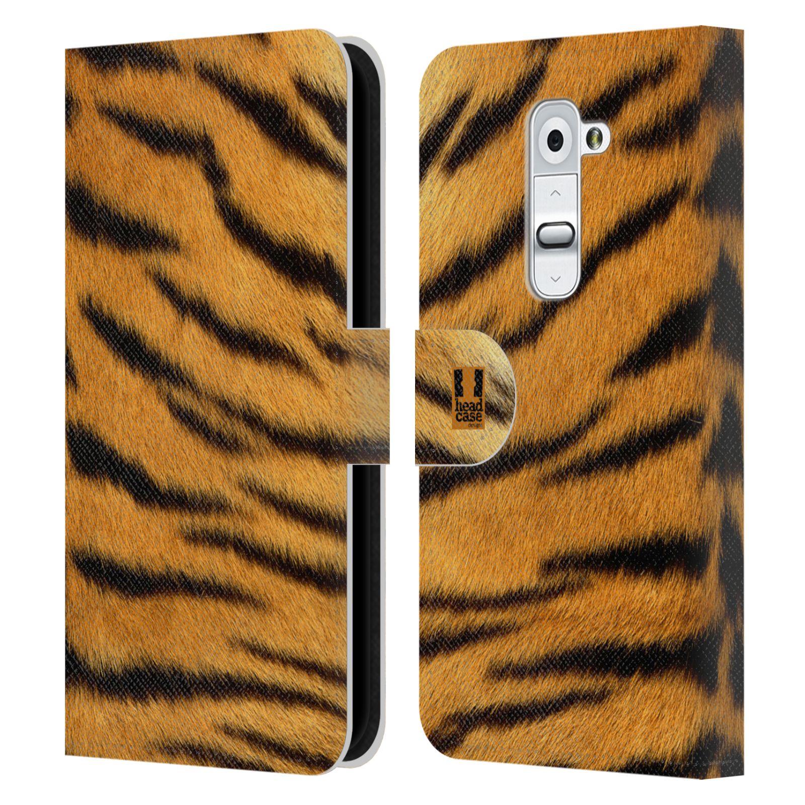 HEAD CASE Flipové pouzdro pro mobil LG G2 (D802) zvíře srst divoká kolekce tygr